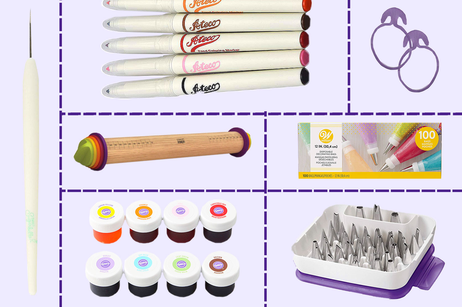 A rolling pin, piping tips, food coloring, edible paint pens, a package of piping bags, and a scribe tool laid out in a grid on a lavender background
