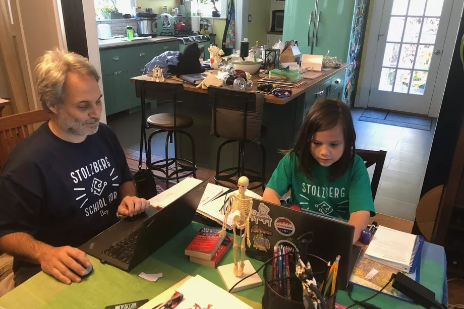 Brooklyn dad Simeon Stolzberg homeschools his third grade son. Roughly 31,000 families have left NYC public schools so far this year compared with last year.
