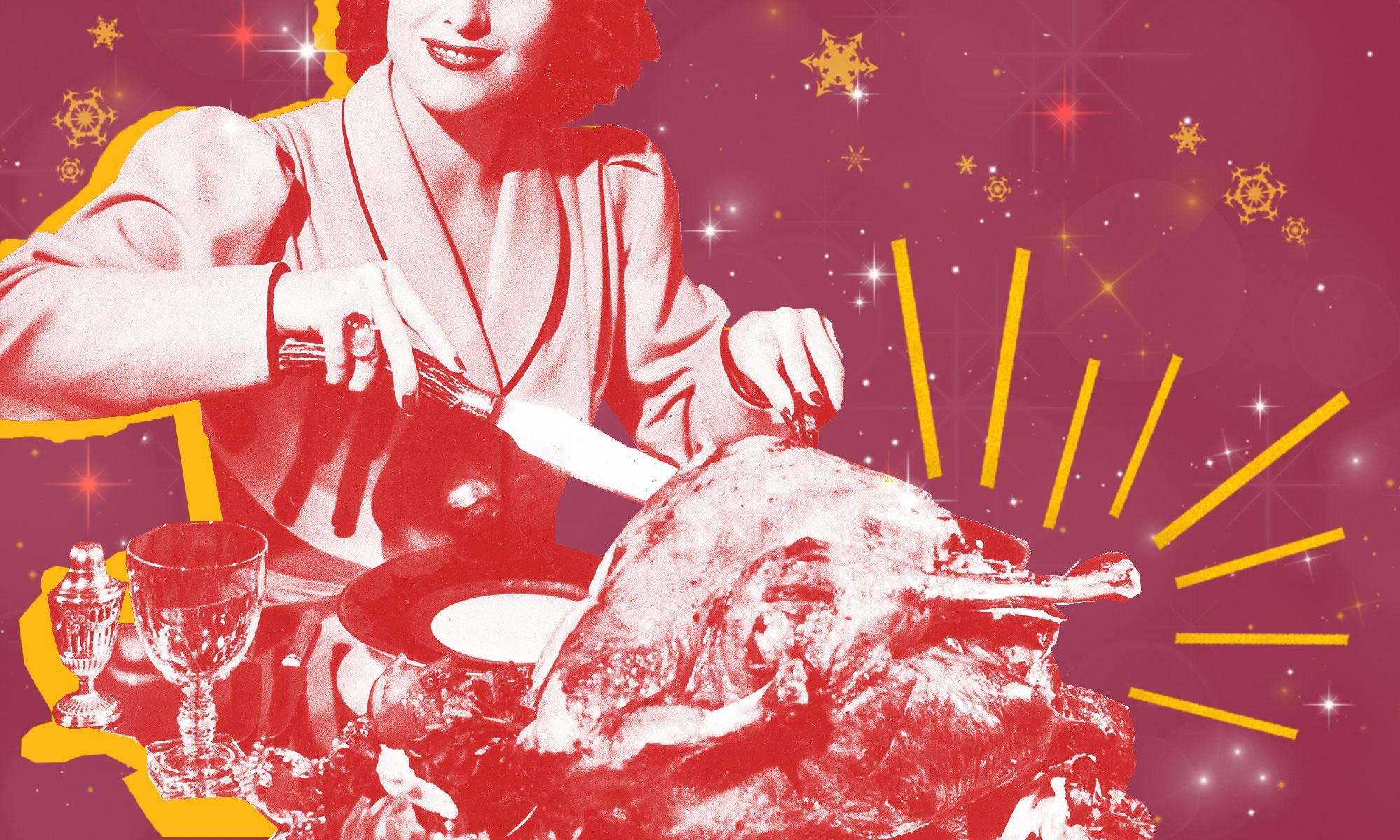 Retro image of a woman cutting into a turkey.