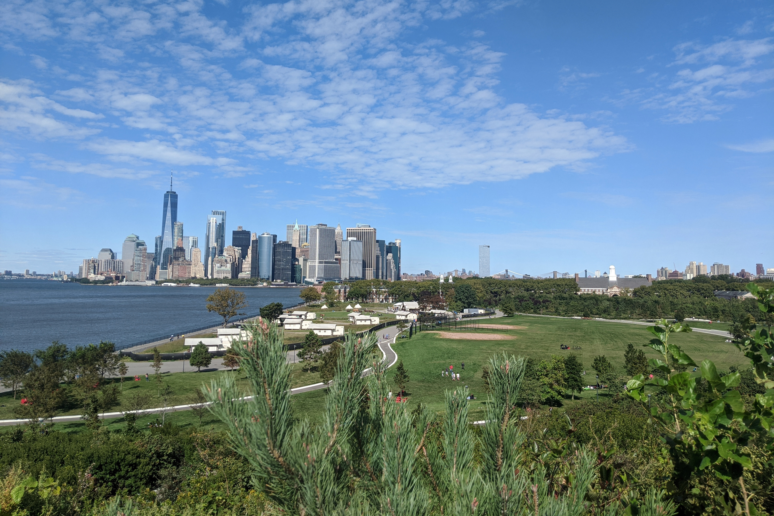 Governors Island, with Manhattan in background, Sept. 20, 2020.
