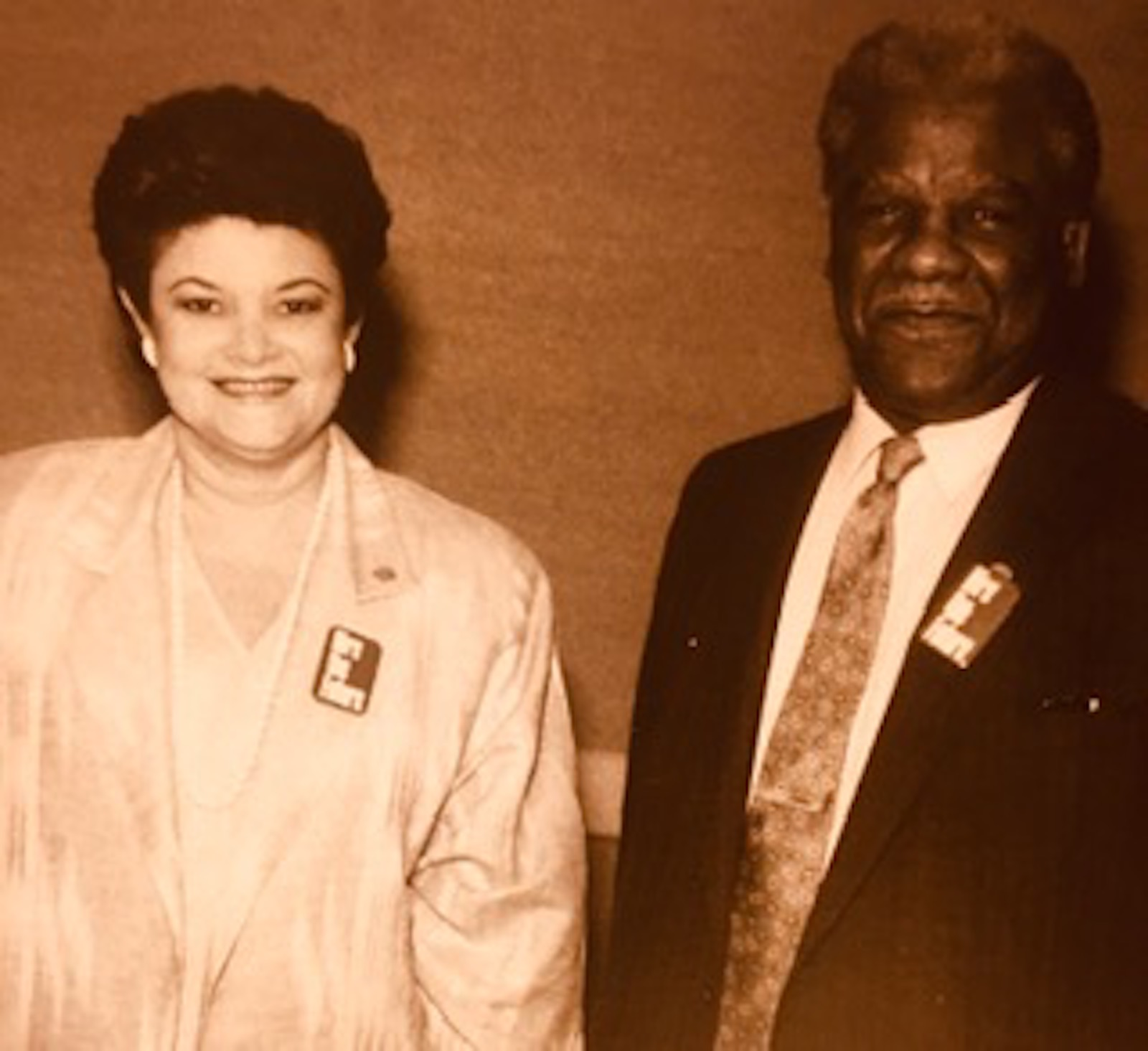 María Cerda with the late Mayor Harold Washington, who made her chief of the Mayor's Office of Employment and Training.