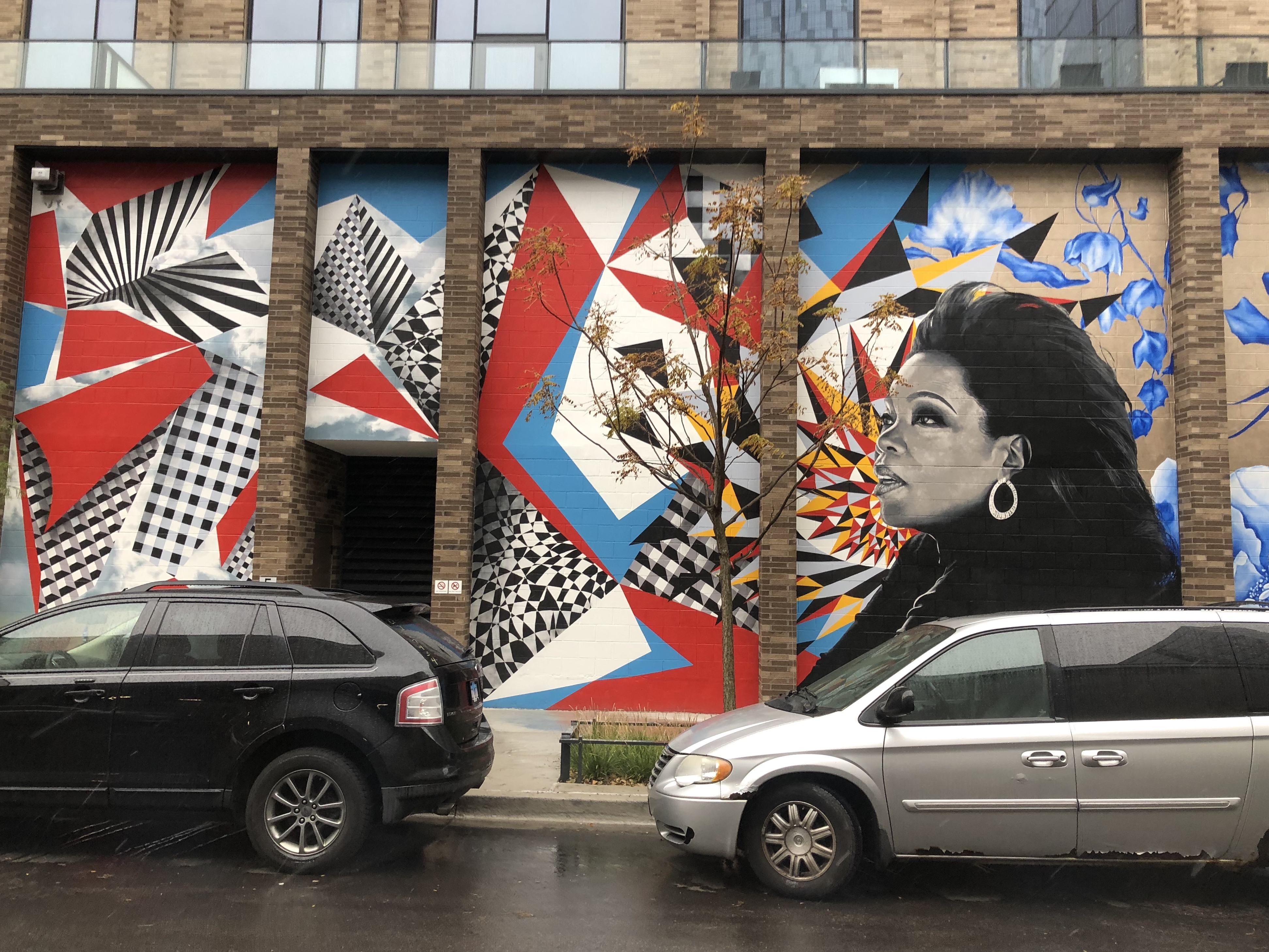 A new mural on the Porte Apartments, 855 W. Madison St. in the West Loop, is all about Oprah Winfrey, who for years taped her syndicated talk show nearby.