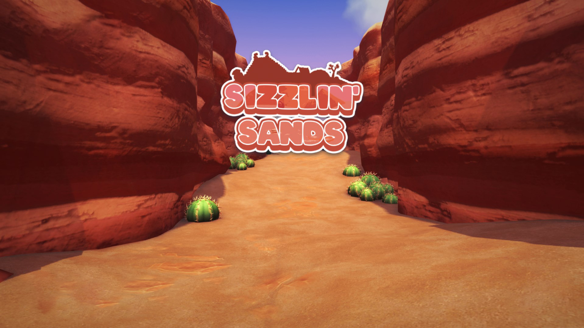 """Text that reads """"Sizzlin' Sands"""" over an entrance to a desert, complete with cacti"""