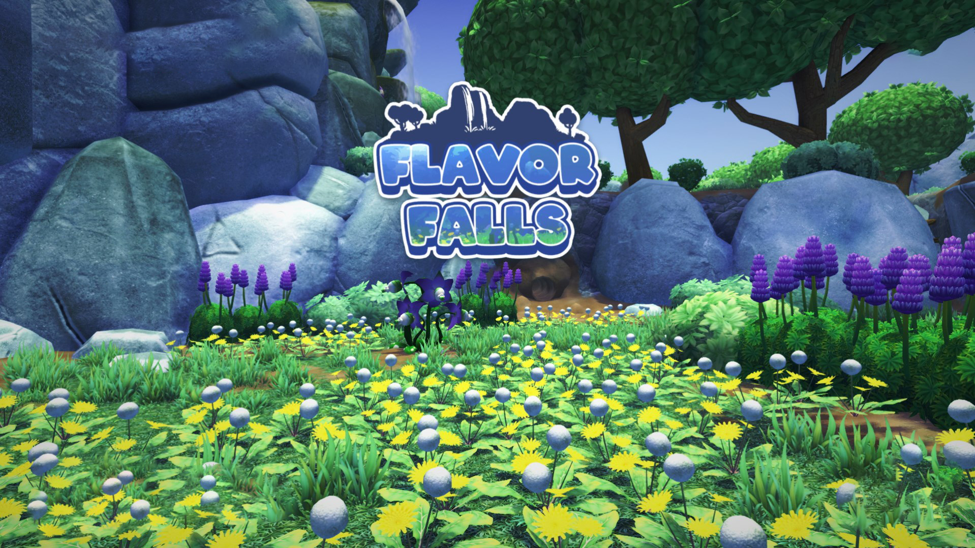 """Text that reads """"Flavor Falls"""" with lots of flowers and rocks behind it"""