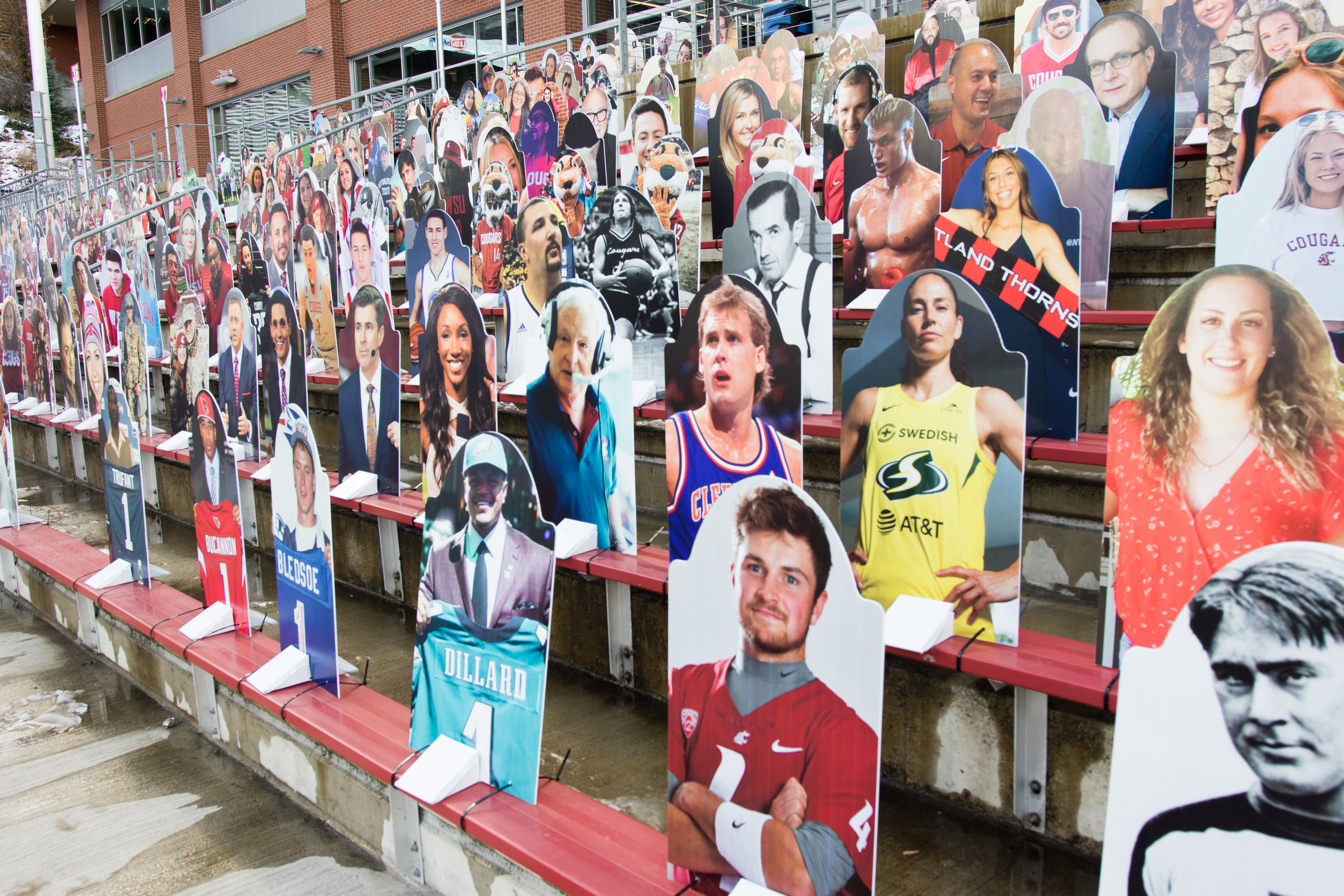 PULLMAN, WA - NOVEMBER 14: WSU Legends - Cardboard cutouts replace fans in Martin Stadium during the COVID-19 pandemic, where the Washington State Cougars play the Oregon Ducks in a Pac 12 North Divisional matchup.