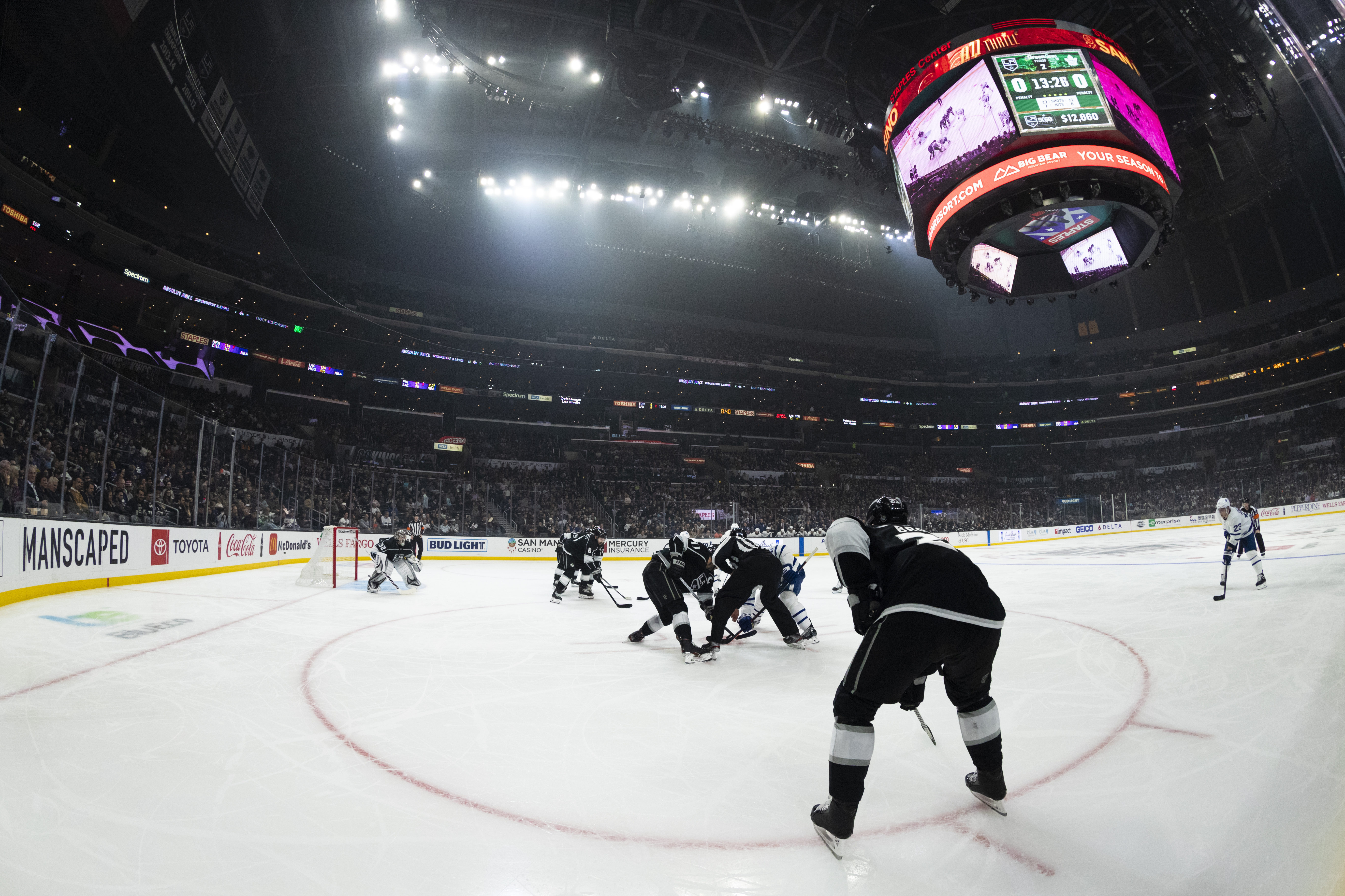 General view of the interior of the Staples Center from ice level during the NHL regular season hockey game against the Toronto Maple Leafs and the Los Angeles Kings on Thursday, March 5, 2020 at Staples Center in Los Angeles, Calif.