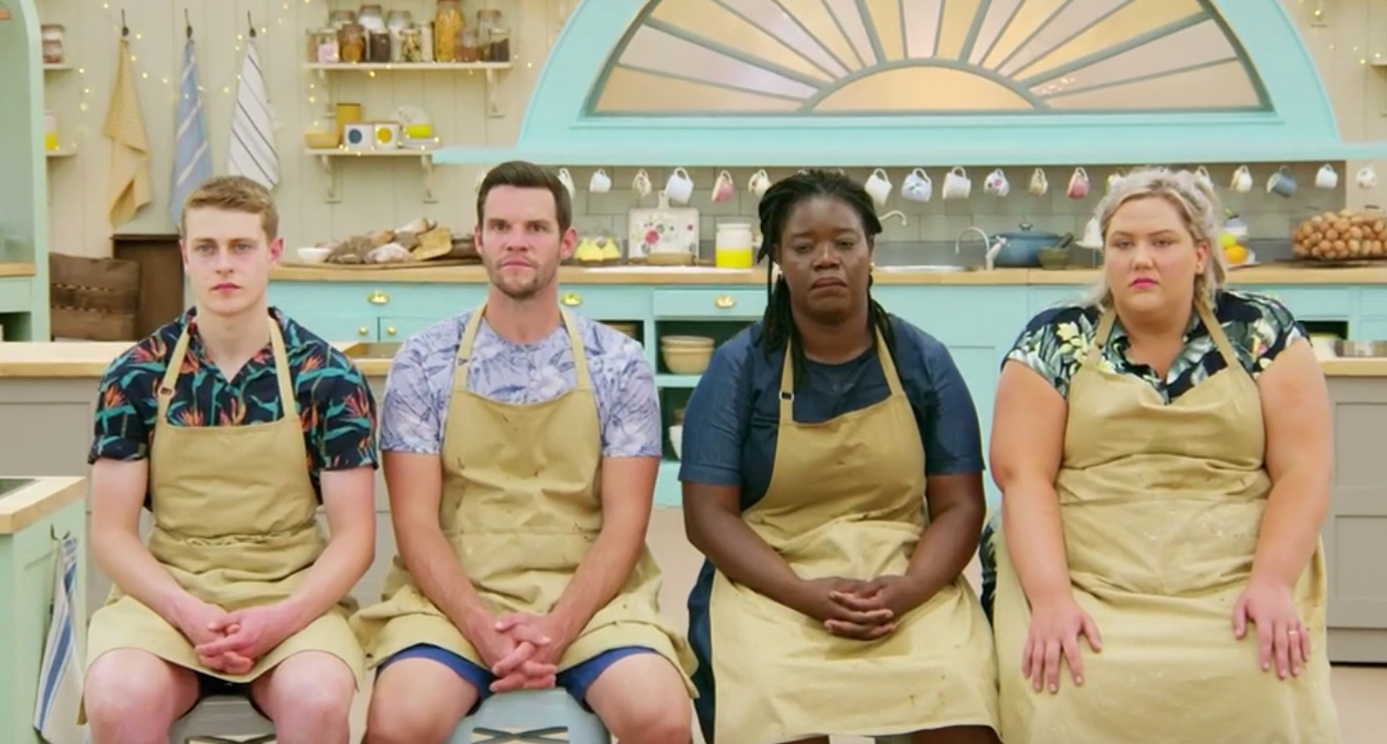 Great British Bake Off contestants Peter, Dave, Hermine, and Laura from left to right