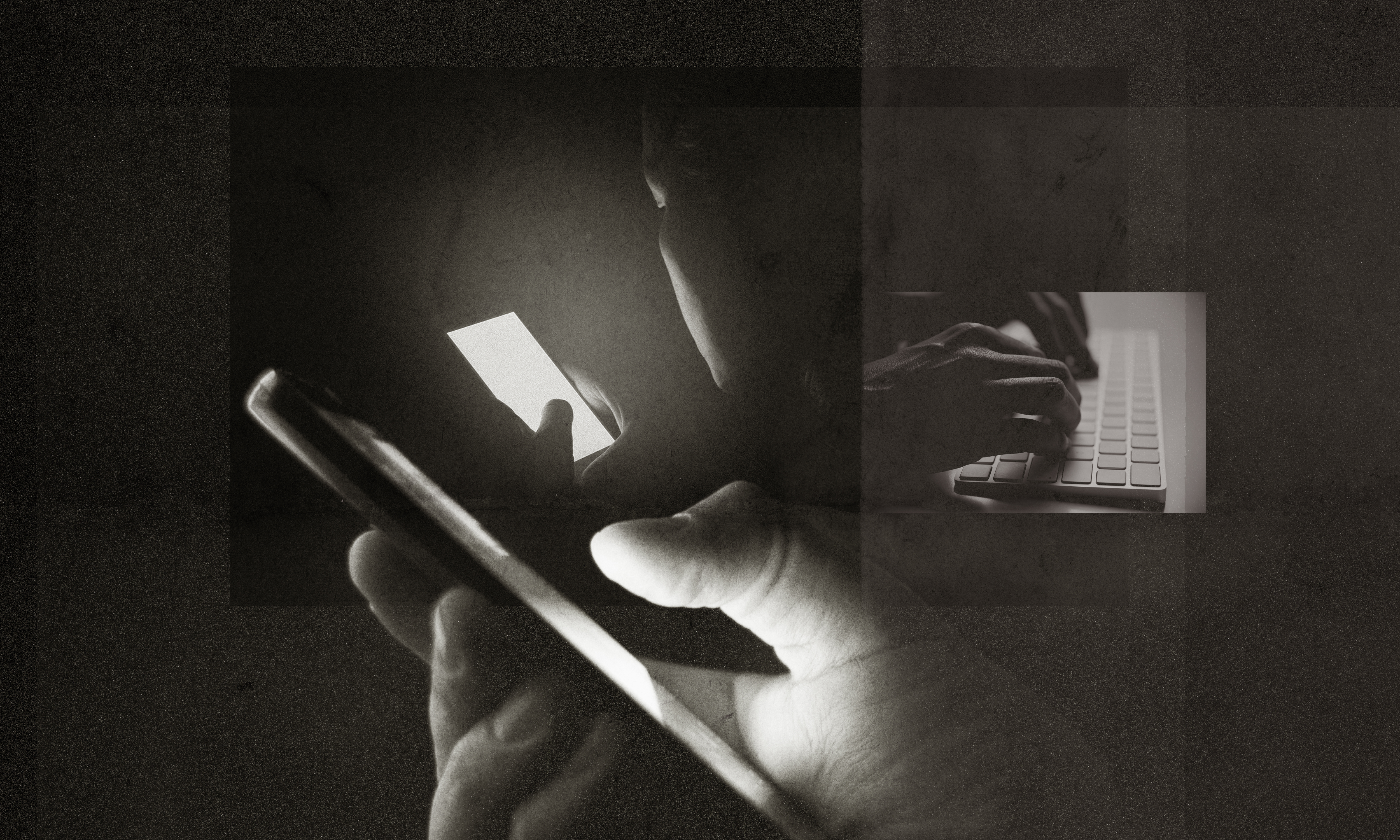 A photo-illustration of a hand holding a cellphone and hands on a computer keyboard.
