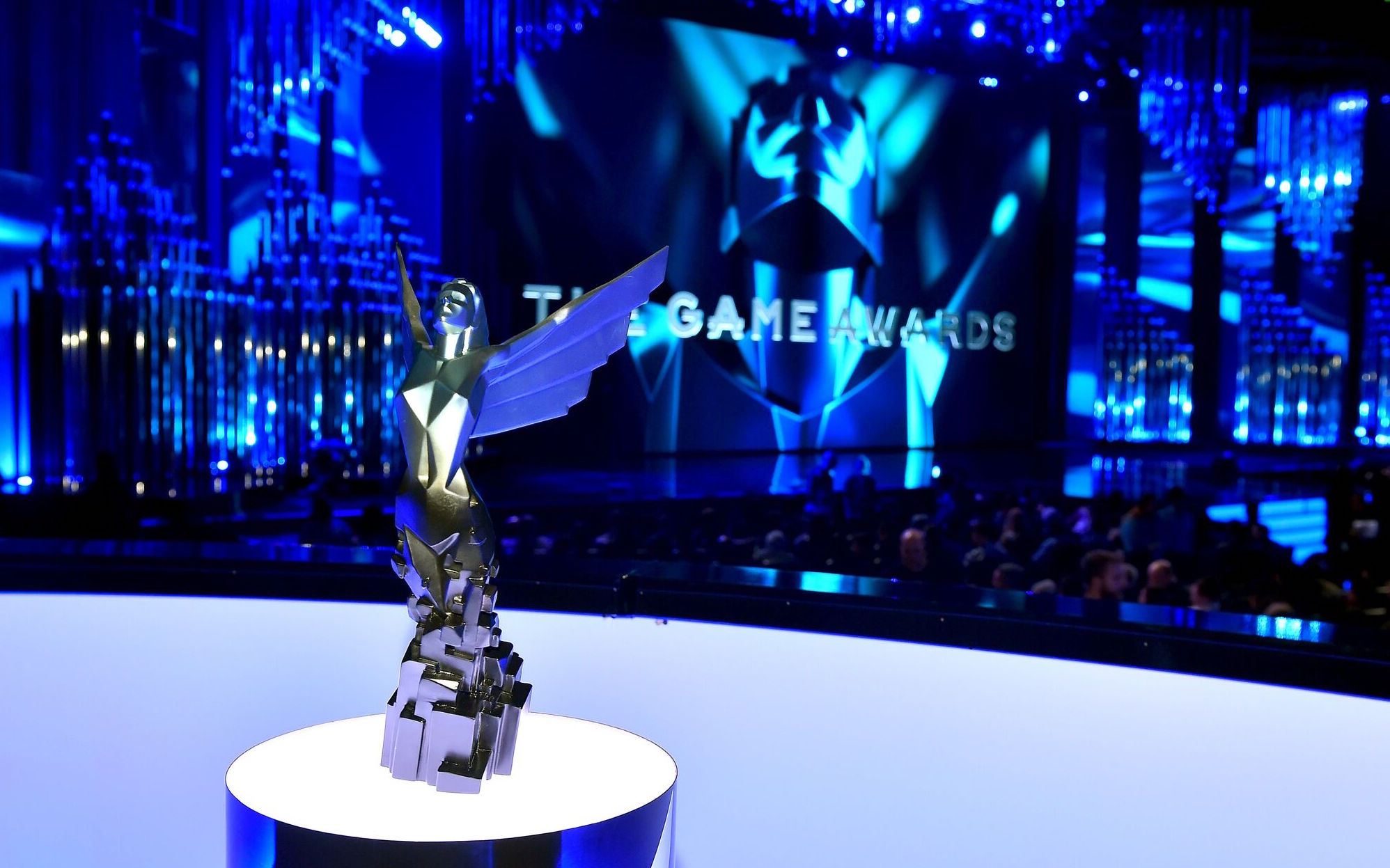 A photo of a statue at The Game Awards