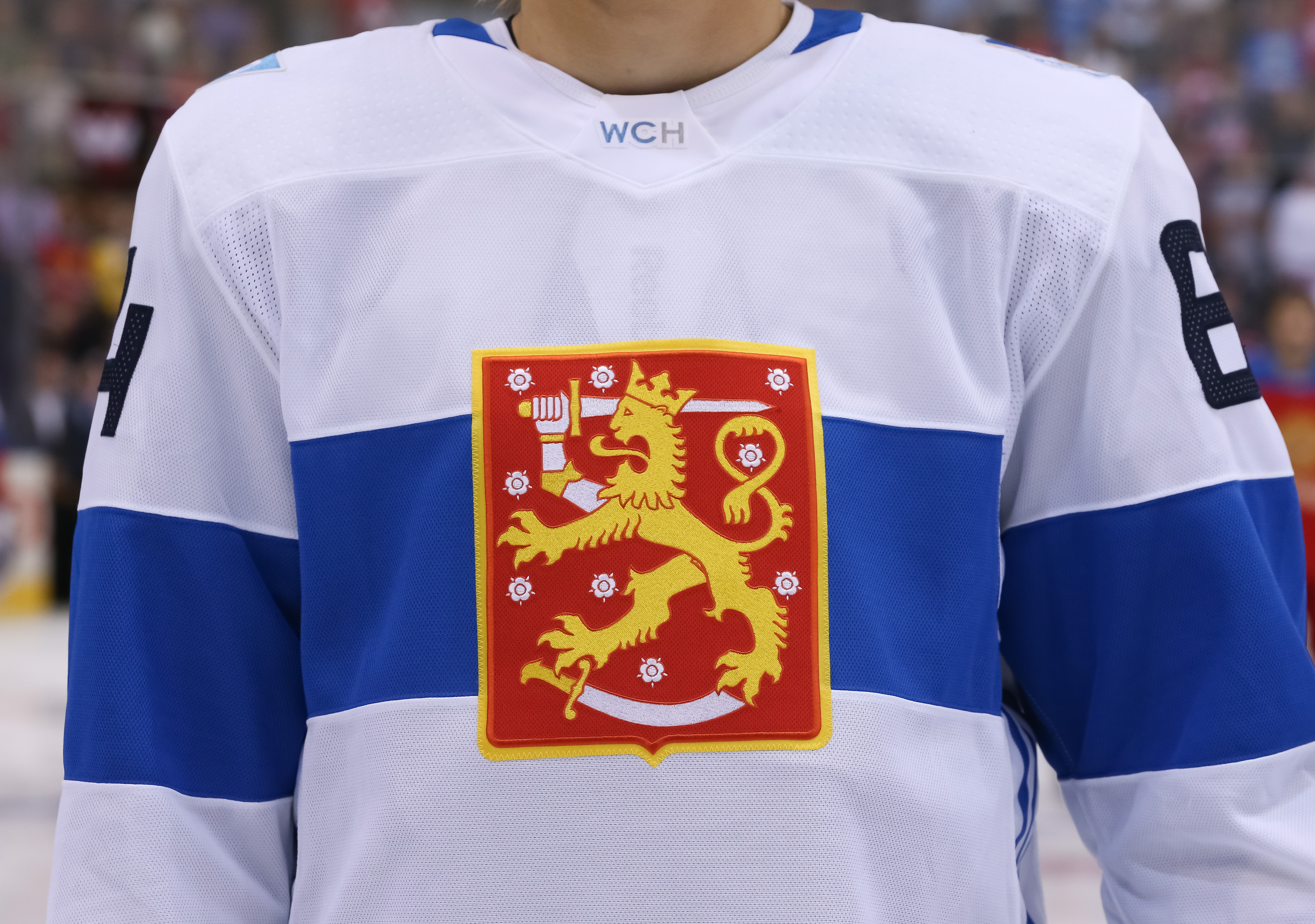 Tournament jersey for Team Finland prior to the game against Team Russia during the World Cup of Hockey 2016 at Air Canada Centre on September 22, 2016 in Toronto, Ontario, Canada.