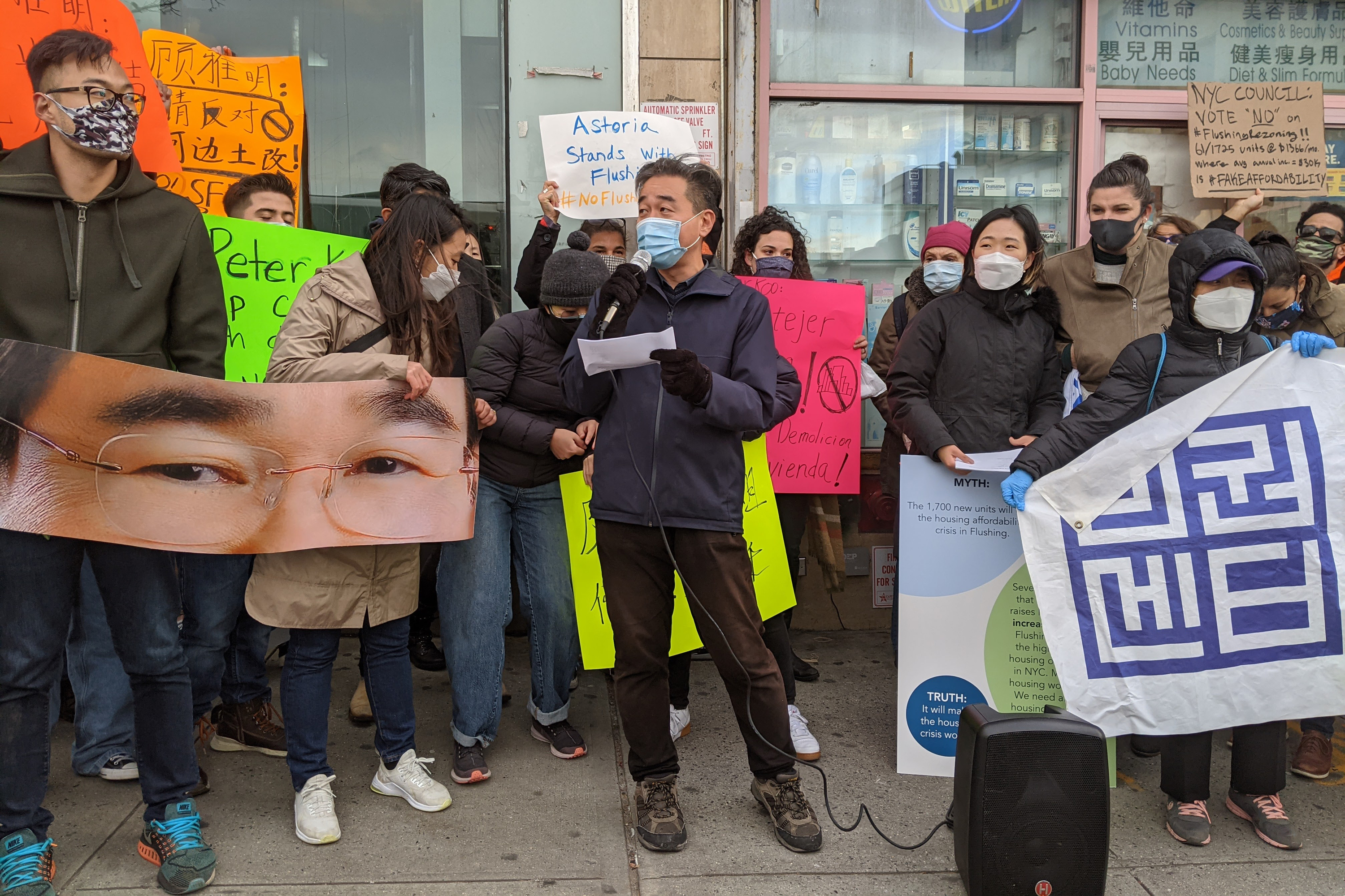 John Choe leads a rally against a proposed Flushing waterfront rezoning project, Nov. 17, 2020.