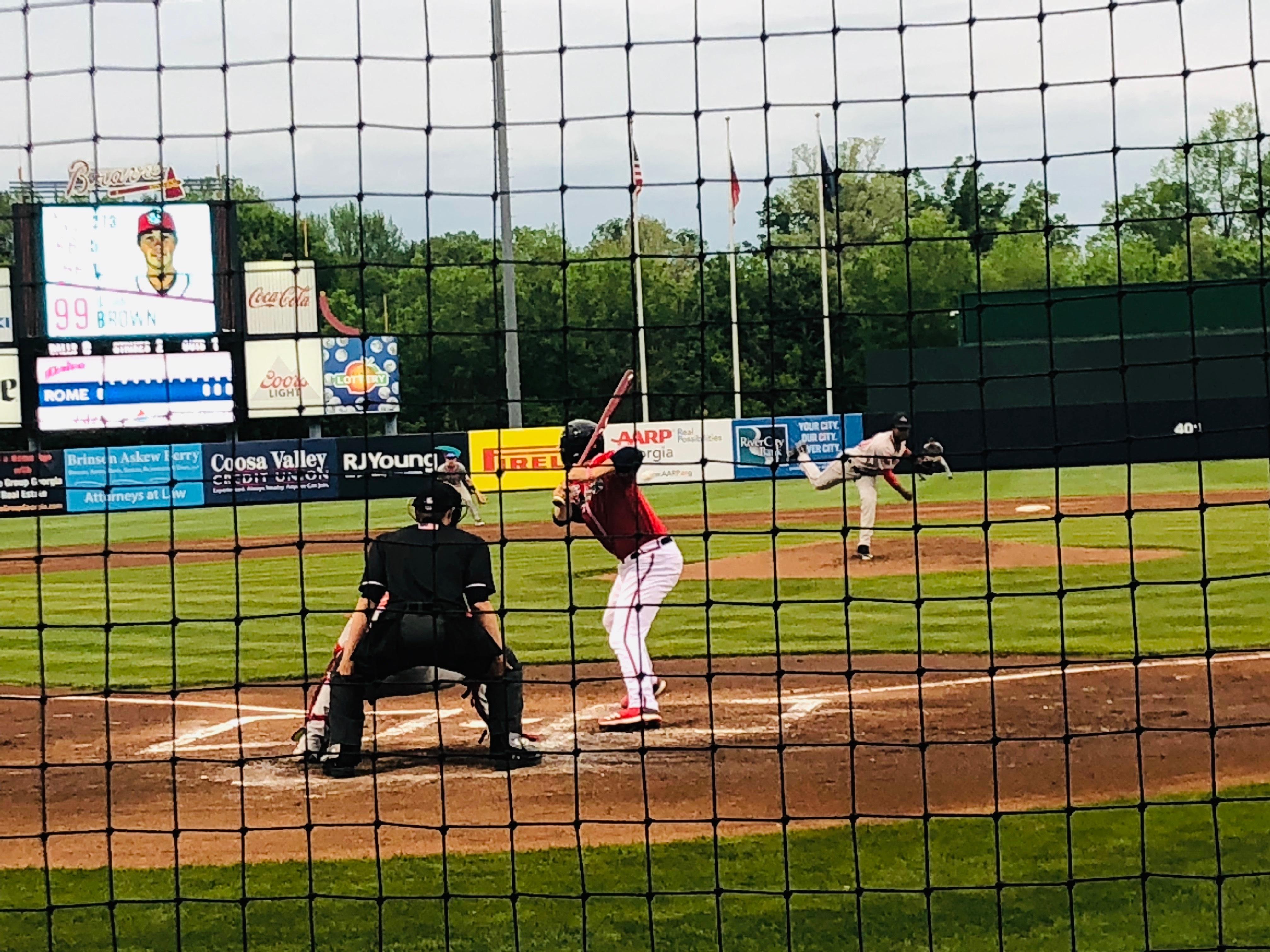 Rome Braves catcher Logan Brown bats.