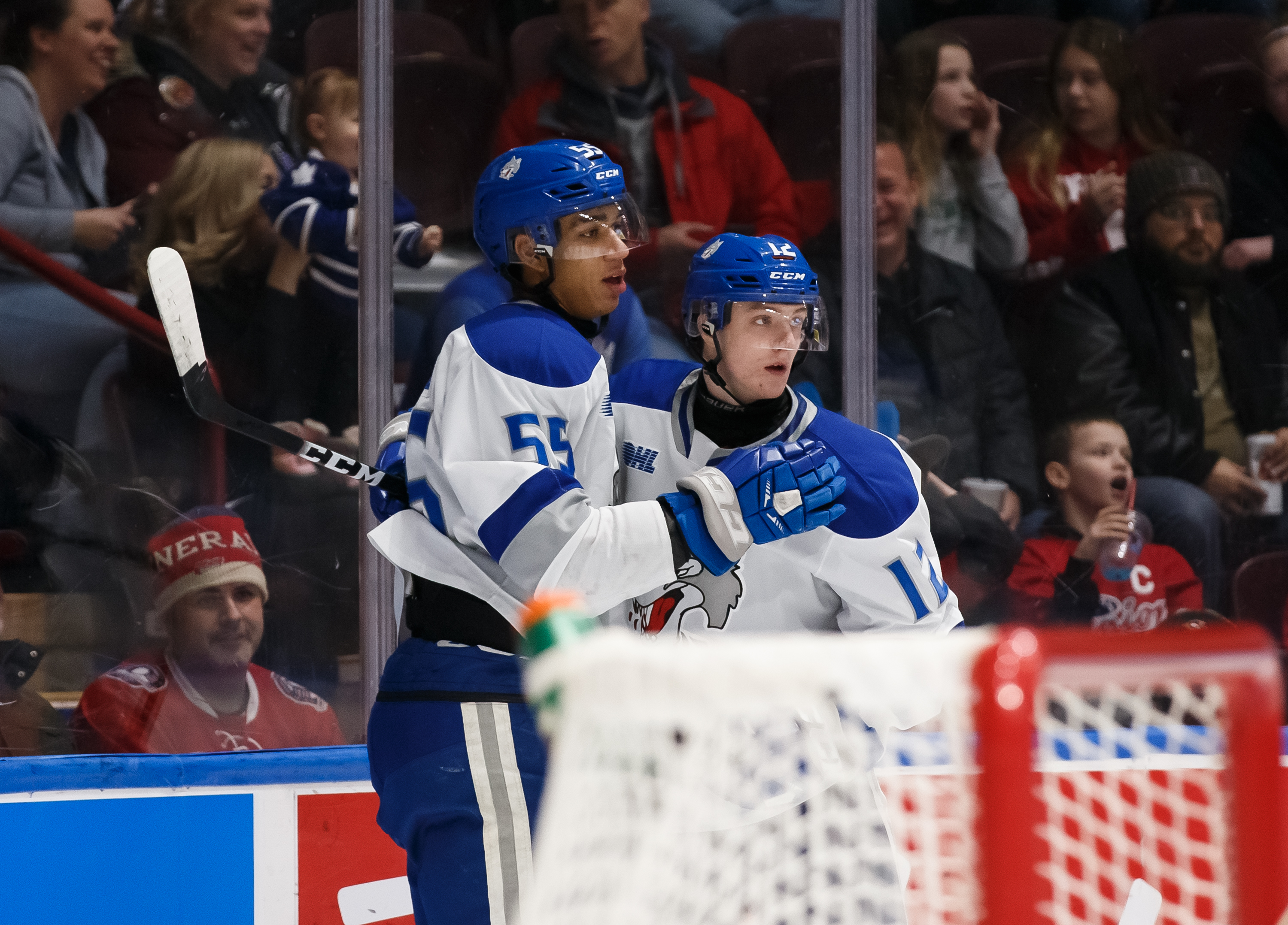 Quinton Byfield #55 of the Sudbury Wolves celebrates with his teammate Matej Pekar #12 after scoring in the first period during an OHL game against the Oshawa Generals at the Tribute Communities Centre on February 7, 2020 in Oshawa, Ontario, Canada.