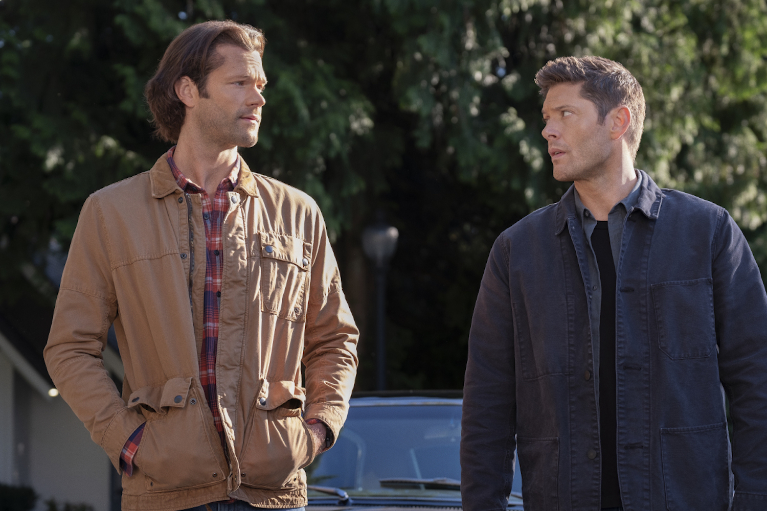 "Jared Padalecki as Sam and Jensen Ackles as Dean in the show ""Supernatural."""
