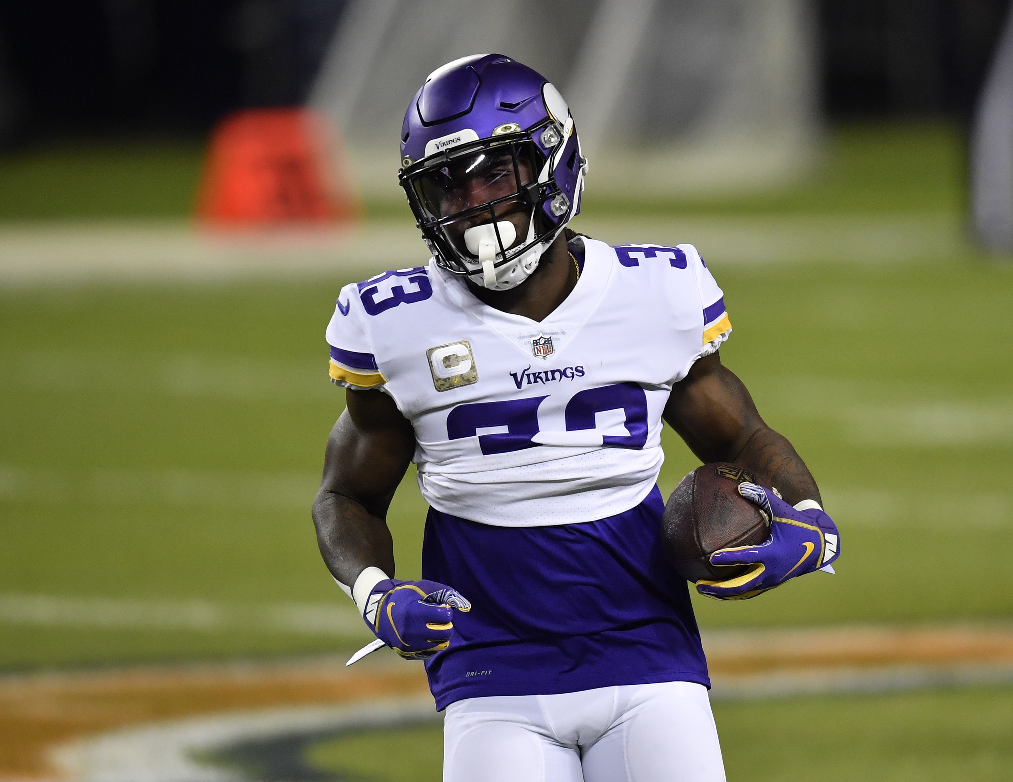 Minnesota Vikings running back Dalvin Cook (33) during warms ups before the game against the Chicago Bears at Soldier Field.