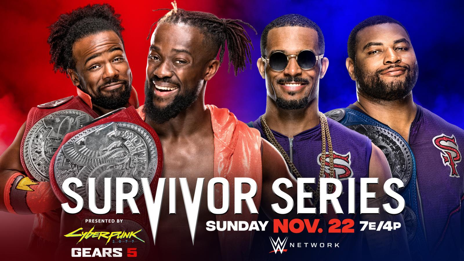 Match graphic for New Day vs. Street Profits at WWE Survivor Series 2020