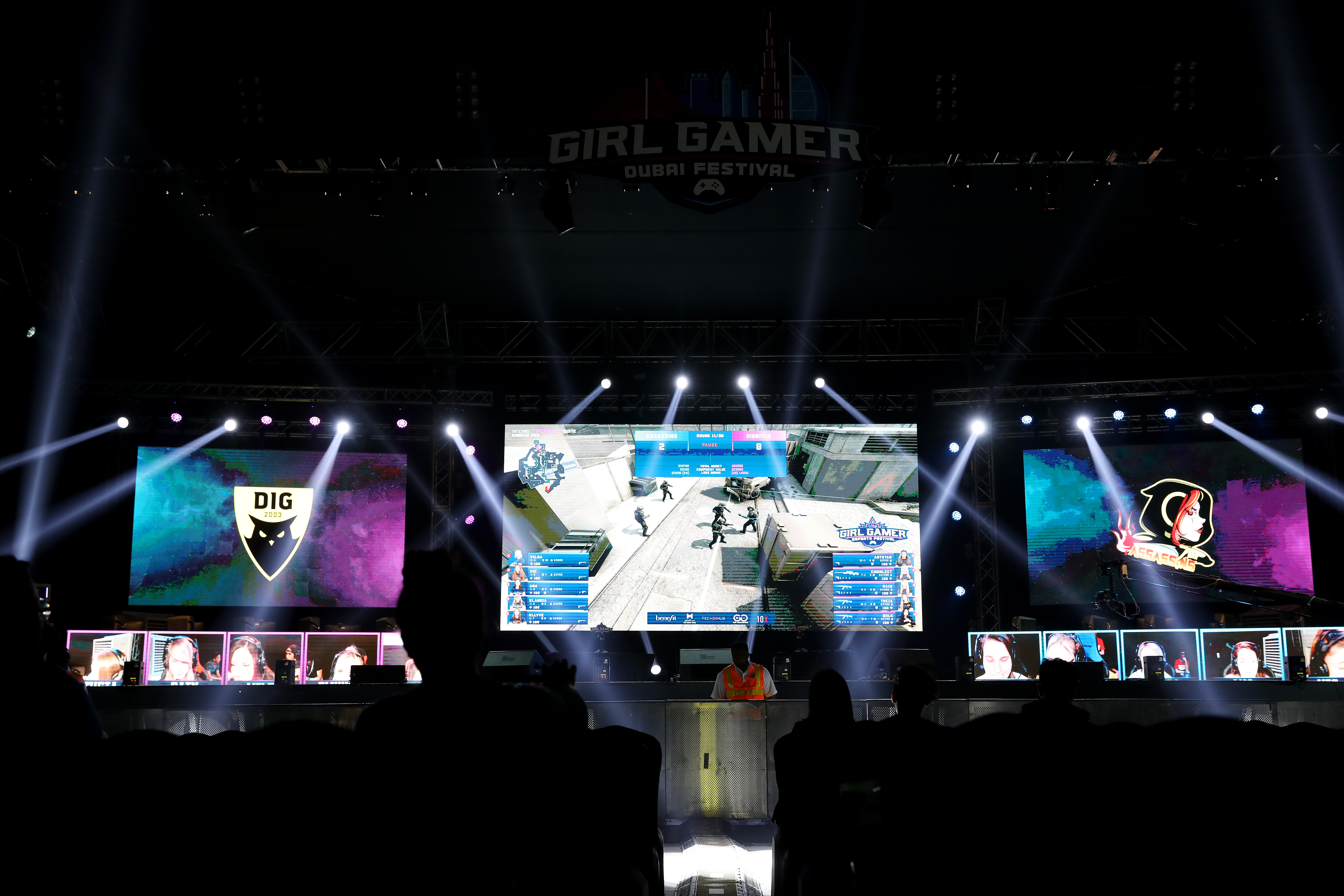 A general view of Team Assassins against Team Dignitas during the CS:GO World Finals on Day Two of the Girl Gamer Esports Festival at Meydan Racecourse on Feb. 22.