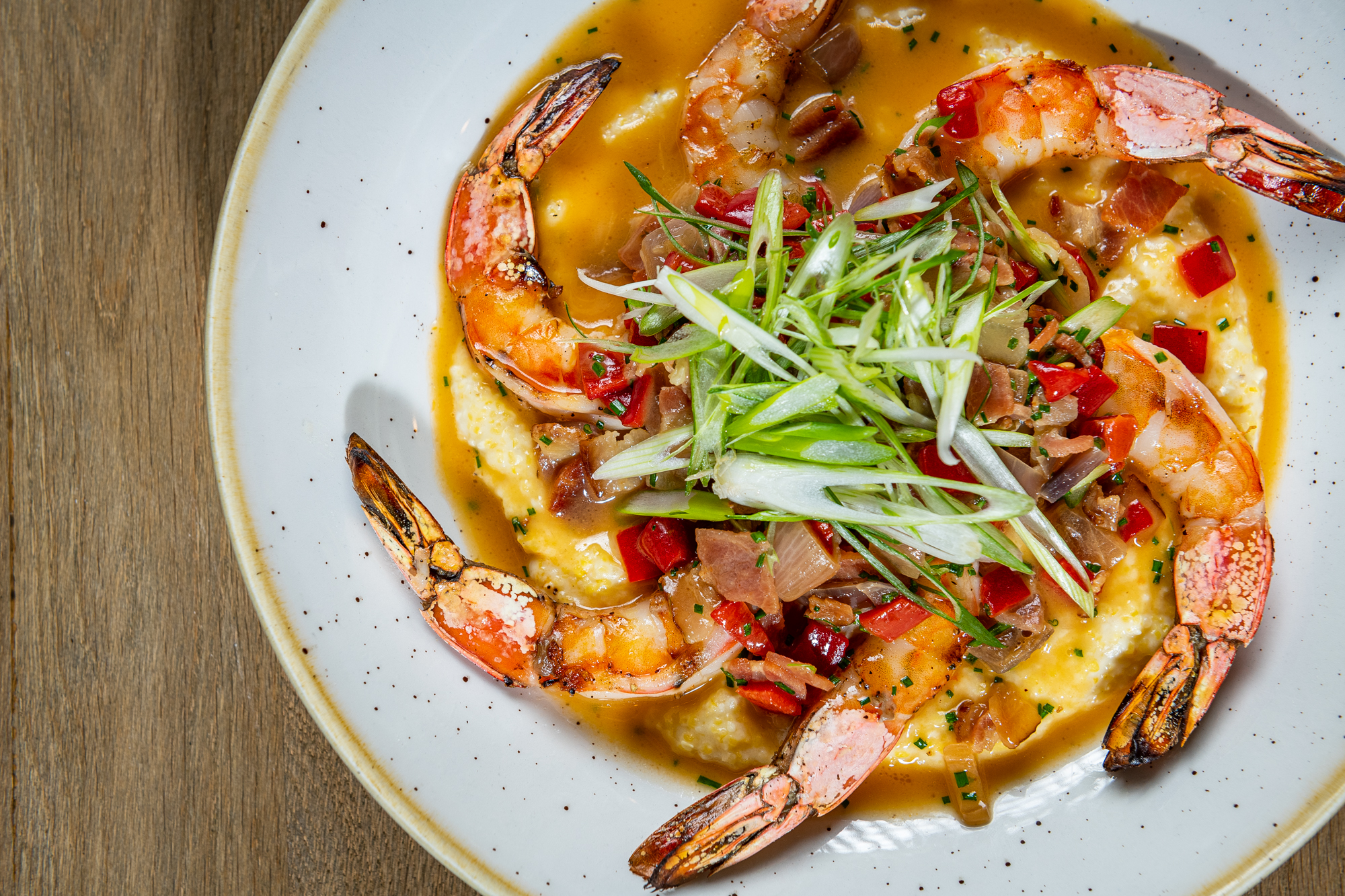 Fire-grilled shrimp with Anson Mills grits from Glover Park Grill
