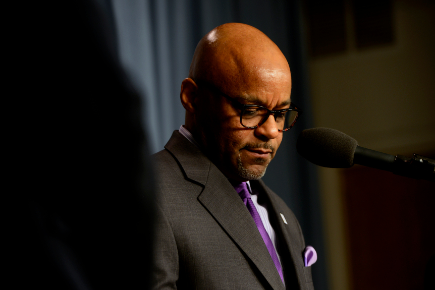 Denver Mayor Michael Hancock at a press conference in March 2020.