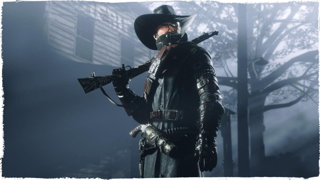 a masked bounty hunter in Red Dead Online