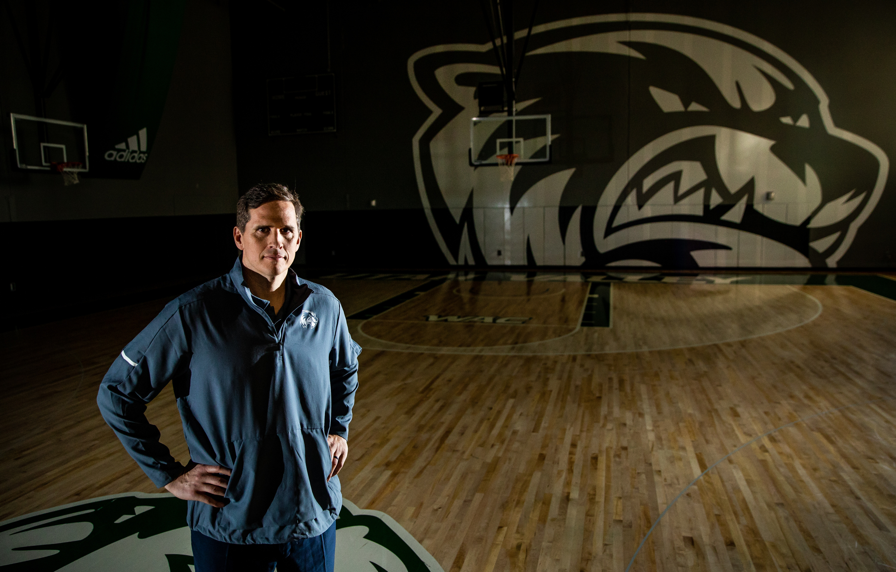 20190509 Utah Valley University basketball head coach Mark Madsen poses for a photo at the team's practice facility in Orem on Thursday, May 9, 2019.