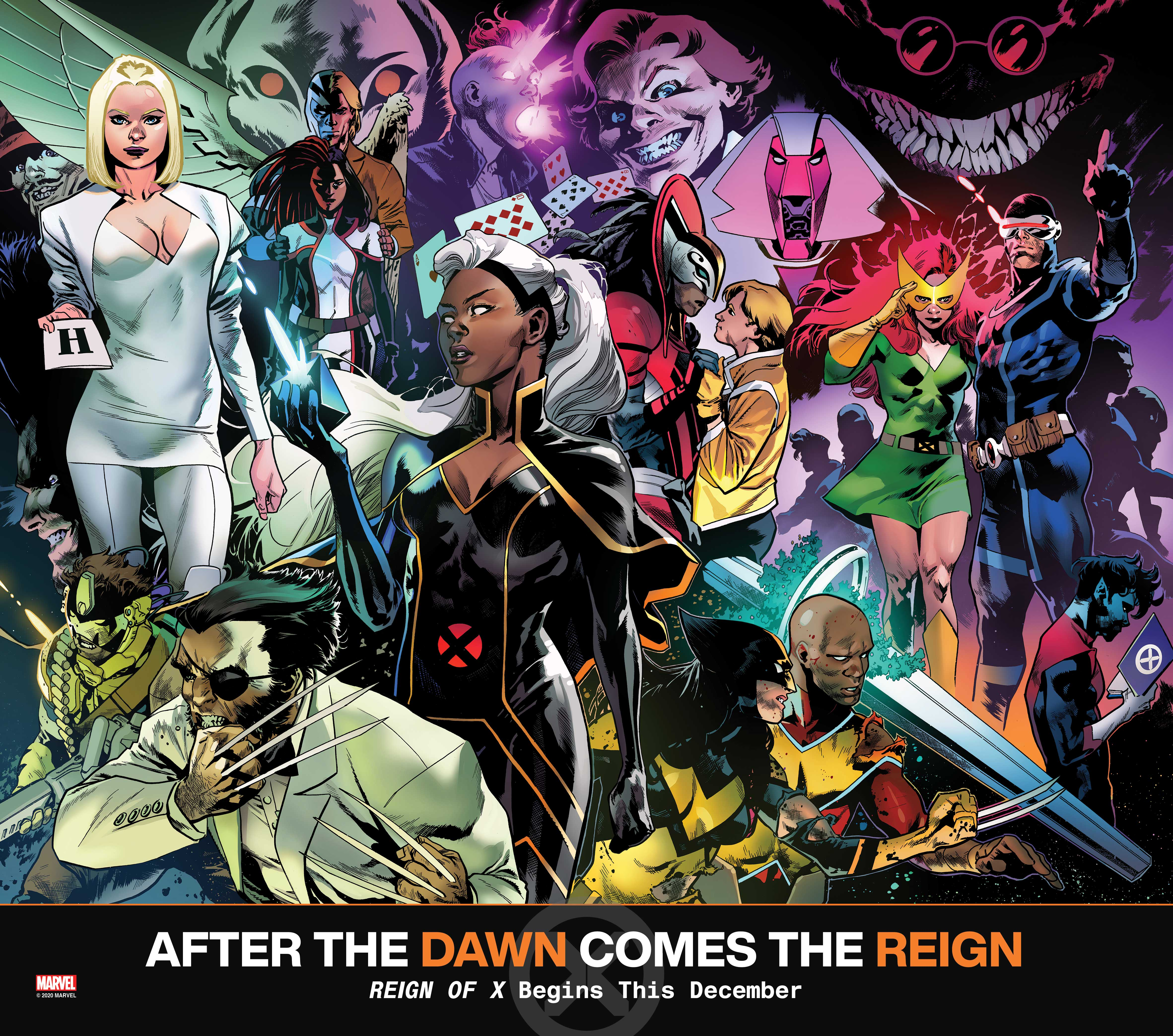 A Marvel promotional collage of dozens of X-Men heroes and villains, from Storm and Mr. Patch to Nimrod and Cyclops, for Reign of X (2020).