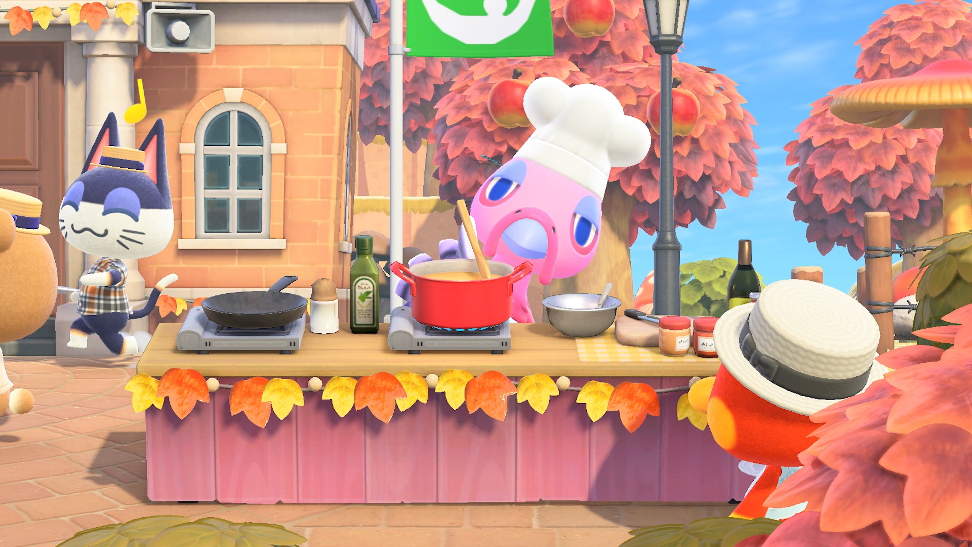 A turkey cooks a meal in a screenshot from Animal Crossing: New Horizons.