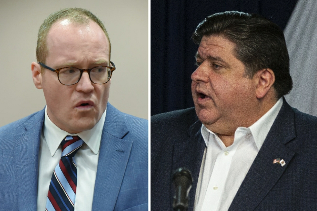McHenry County State's Attorney Patrick Kenneally, left, in July; Gov. J.B. Pritzker, right, earlier this month.