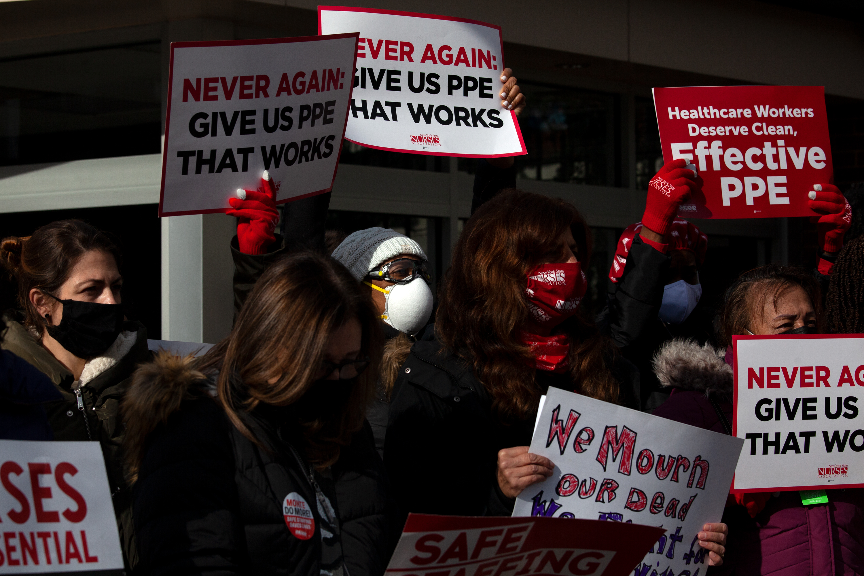 Nurses at Montefiore Medical Center in The Bronx protest a lack of protective equipment, Nov. 19, 2020.