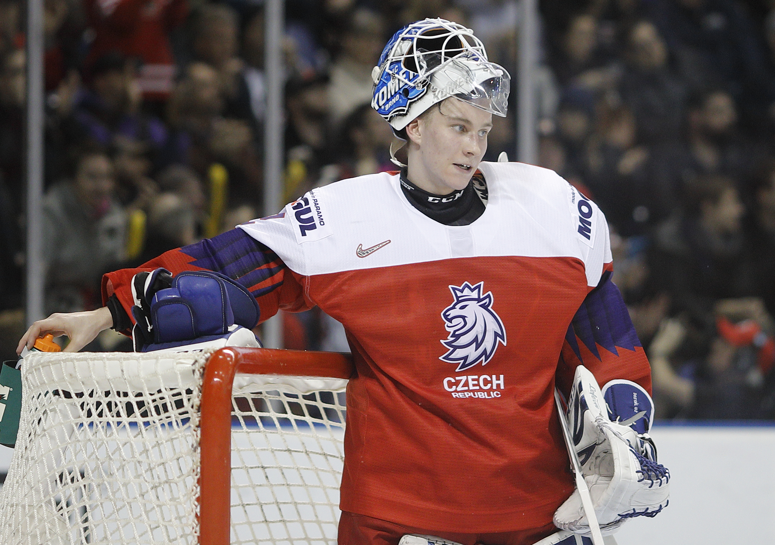 Goaltender Lukas Dostal #2 of the Czech Republic reaches for his water bottle against the United States during a quarter-final game at the IIHF World Junior Championships at the Save-on-Foods Memorial Centre on January 2, 2019 in Victoria, British Columbia, Canada.