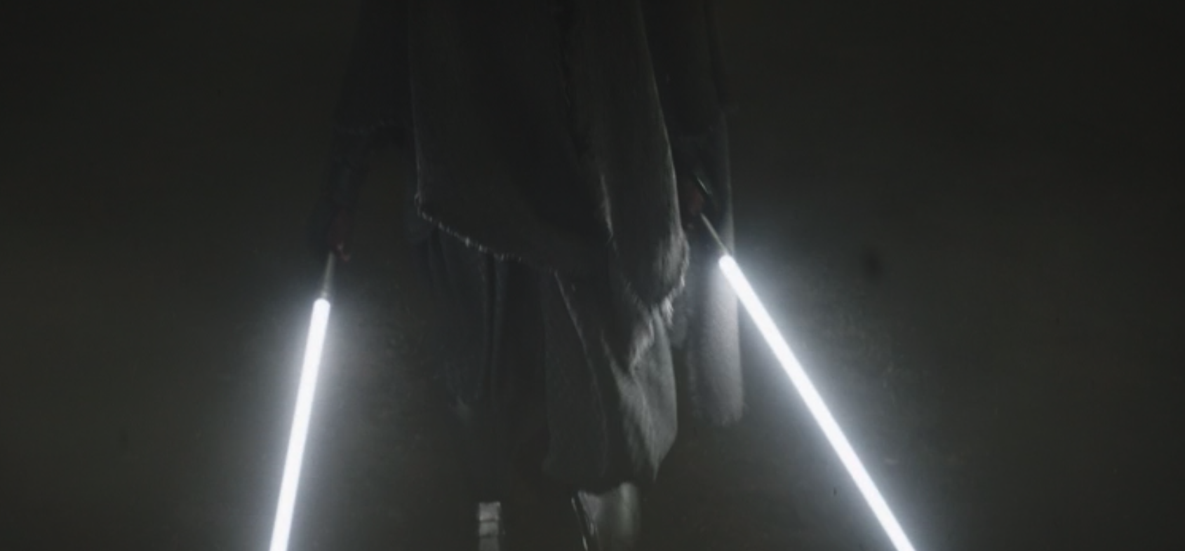 A pair of white lightsabers