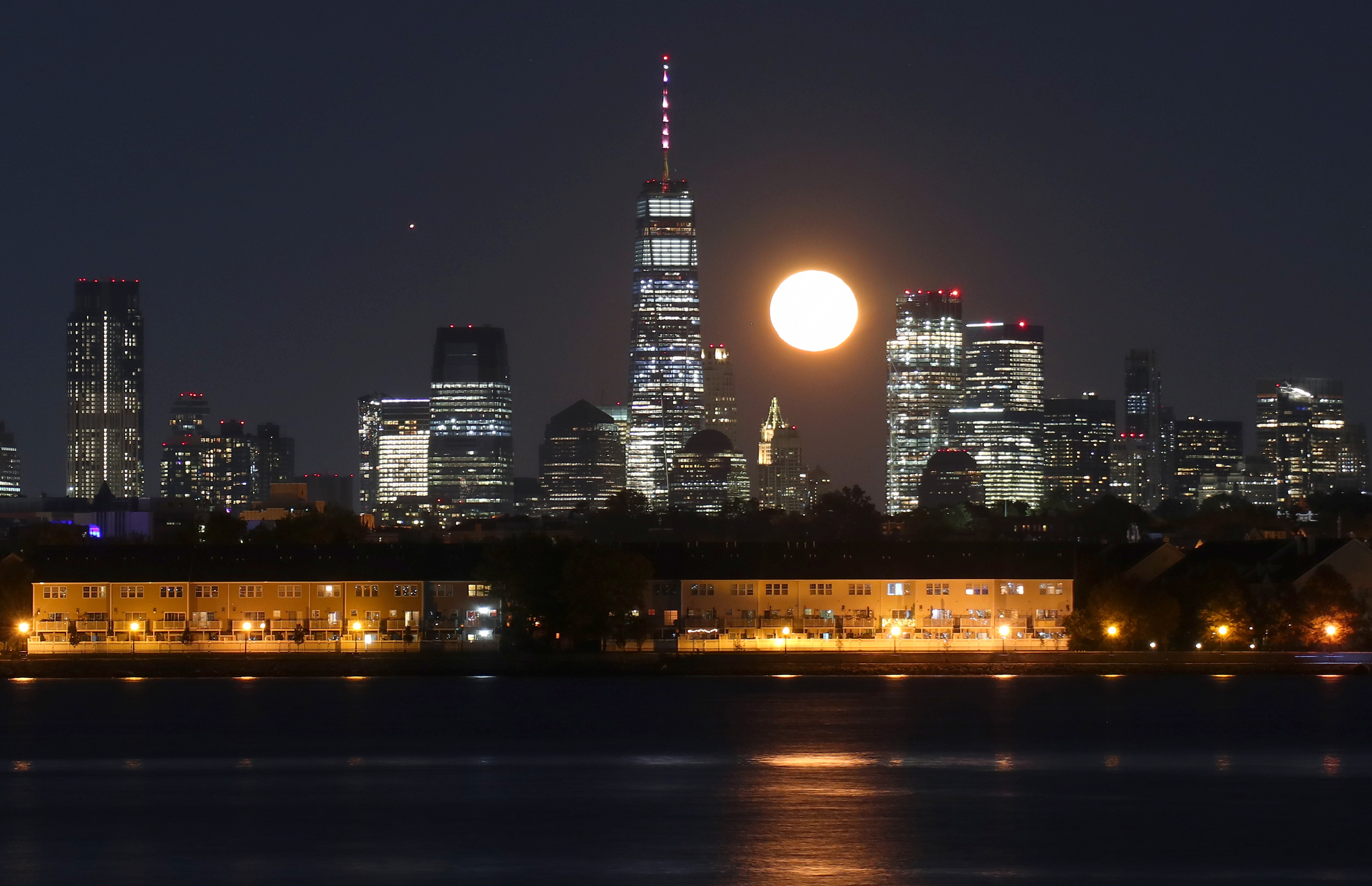 Moon and Mars Rise in New York City