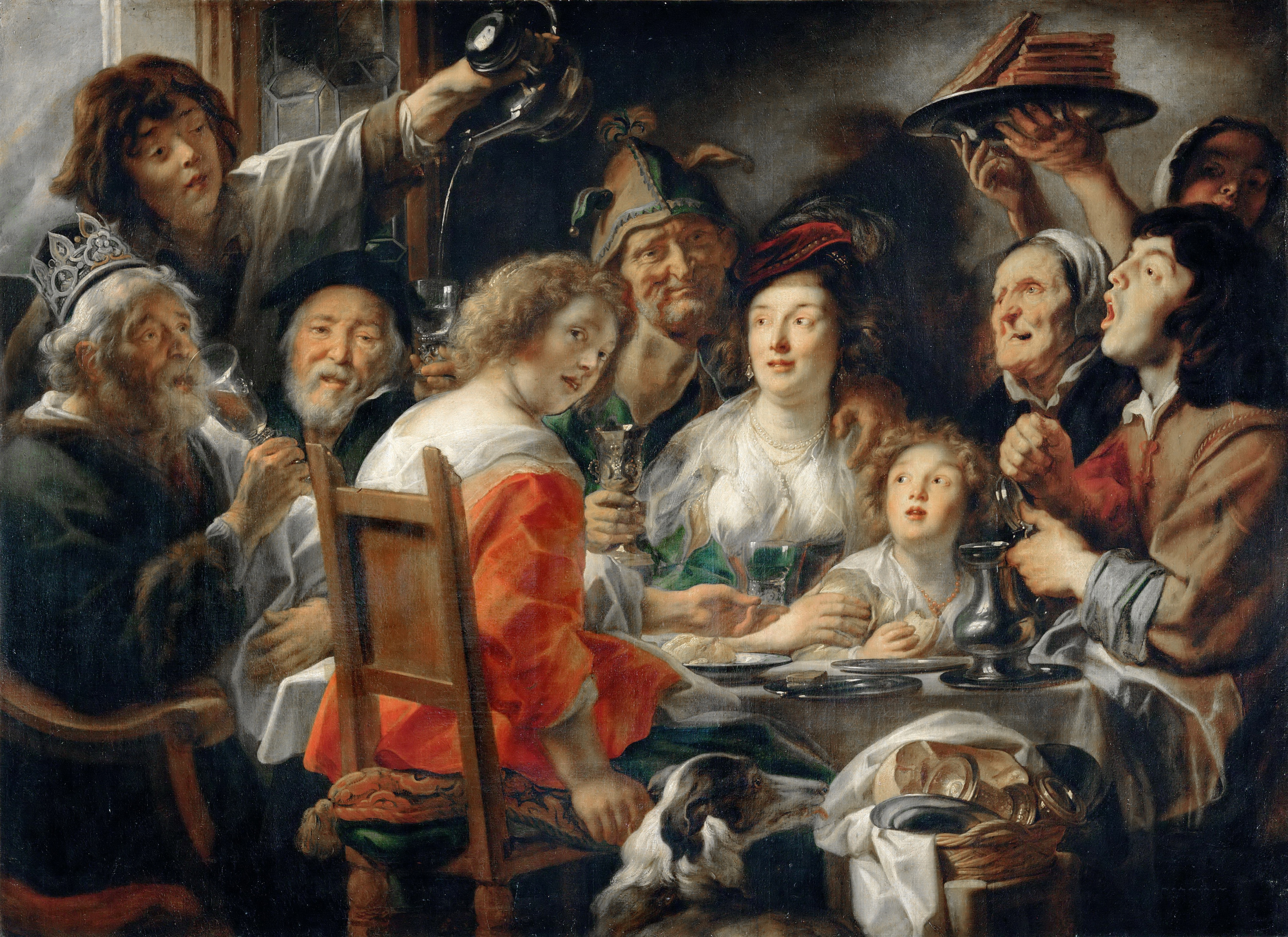 The King Drinks, or Family Meal on the Feast of Epiphany. Artist: Jordaens, Jacob (1593-1678)