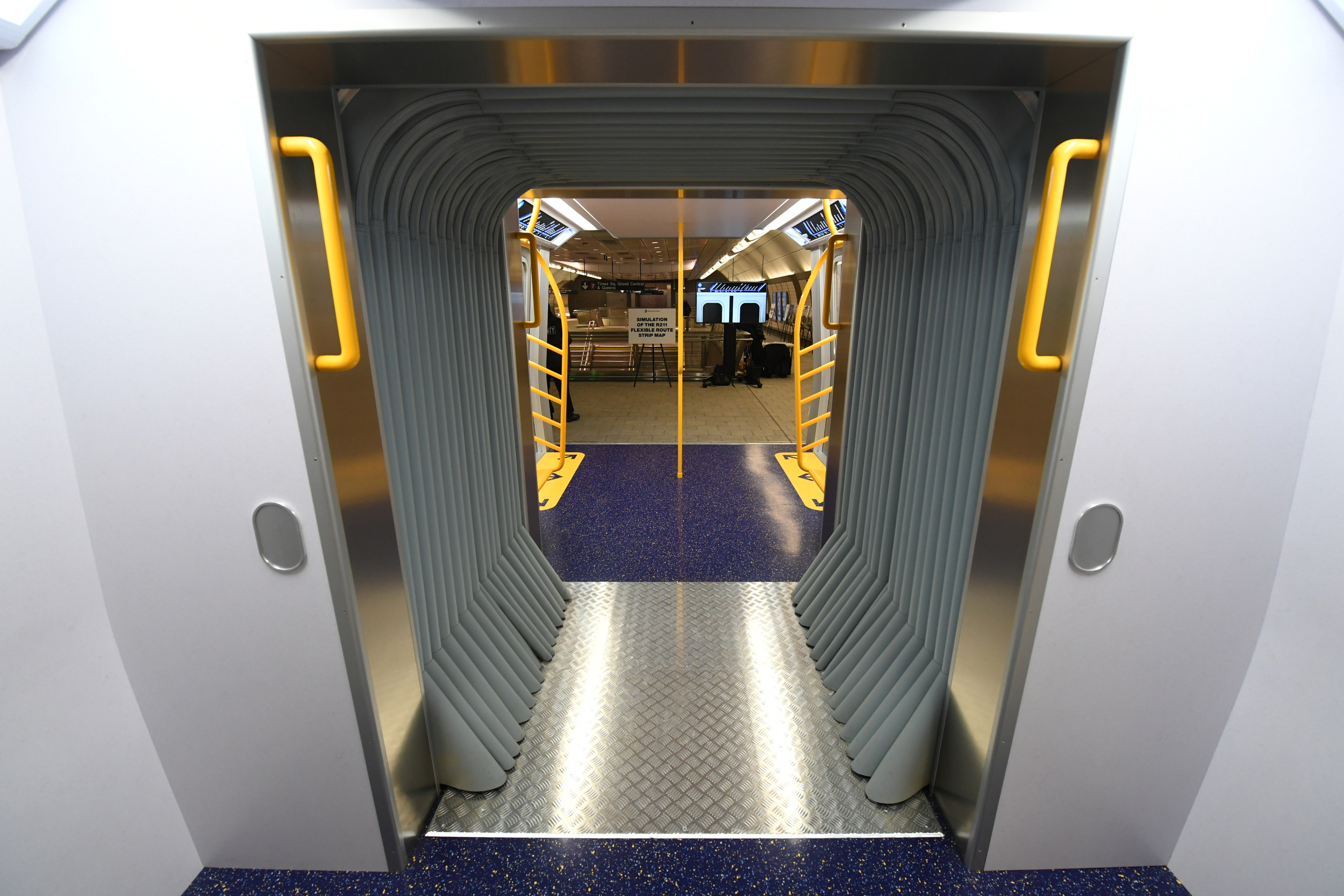 The MTA unveiled an example of a new open gangway subway car on Nov. 30, 2017.