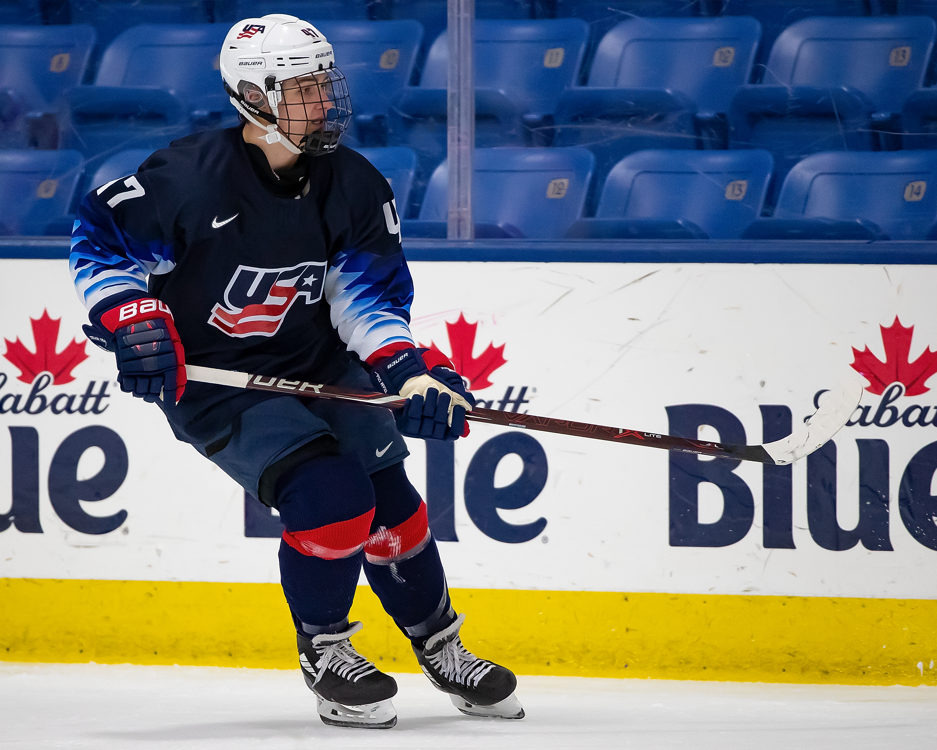Thomas Bordeleau #47 of the U.S. Nationals follows the play against the Switzerland Nationals during day-2 of game two of the 2018 Under-17 Four Nations Tournament at USA Hockey Arena on December 12, 2018 in Plymouth, Michigan. USA defeated Switzerland 3-1.