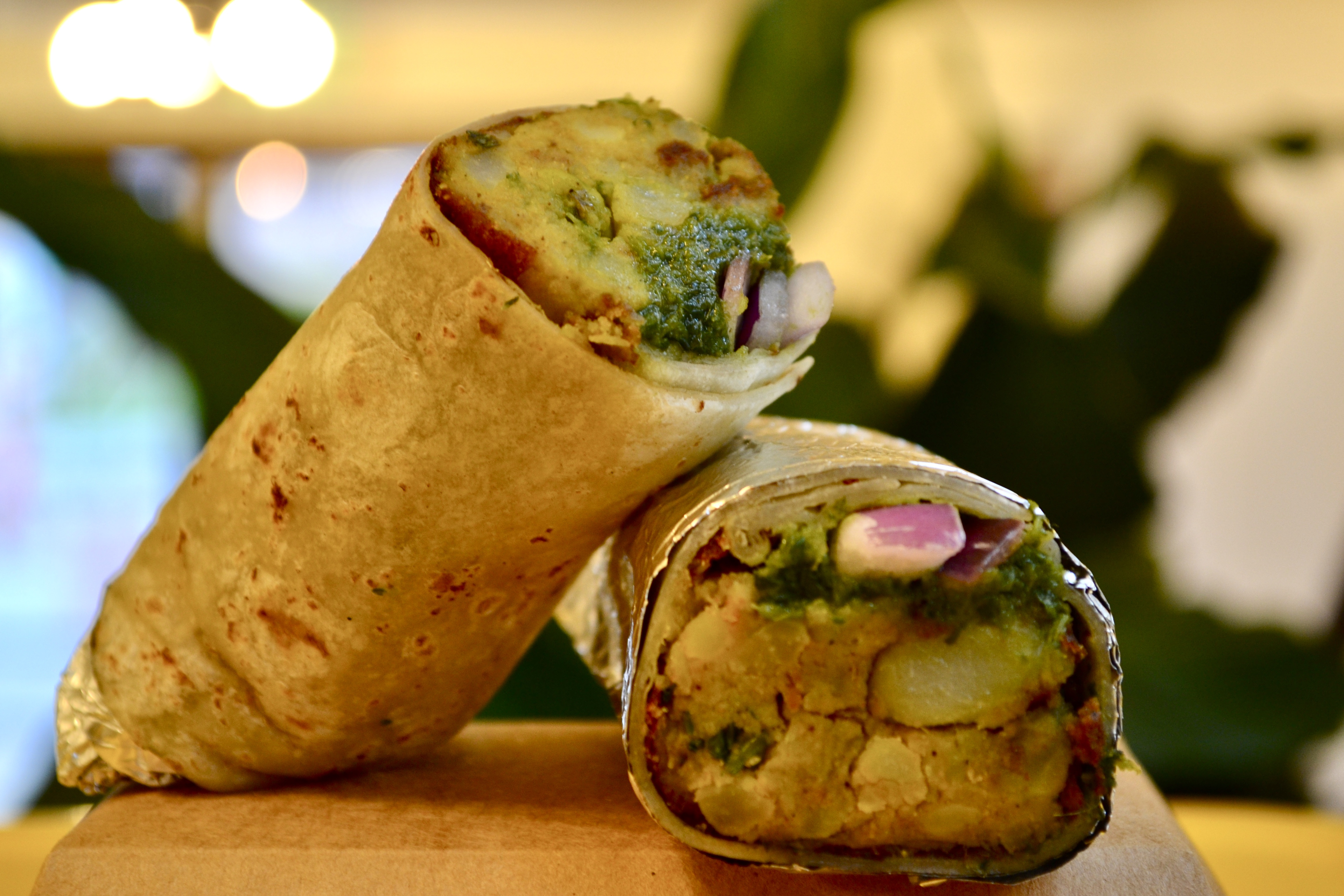 Spice Waala's aloo tikki kathi roll with one half stacked on the other