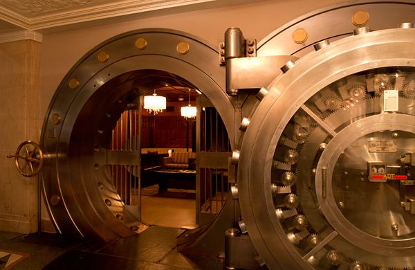 A bank safe open
