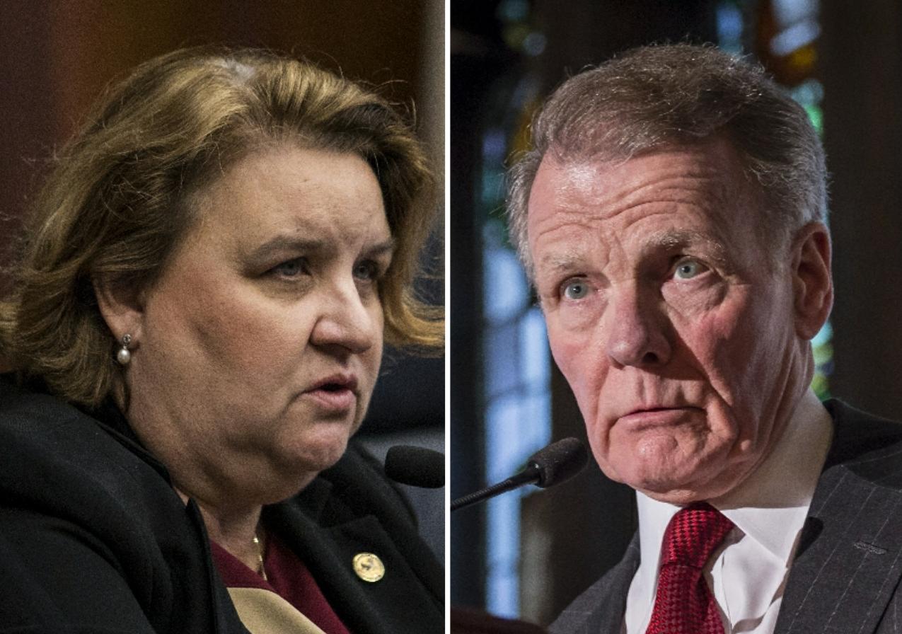 State Rep. Kathleen Willis, left, n 2018; House Speaker Michael Madigan, right, in 2015.