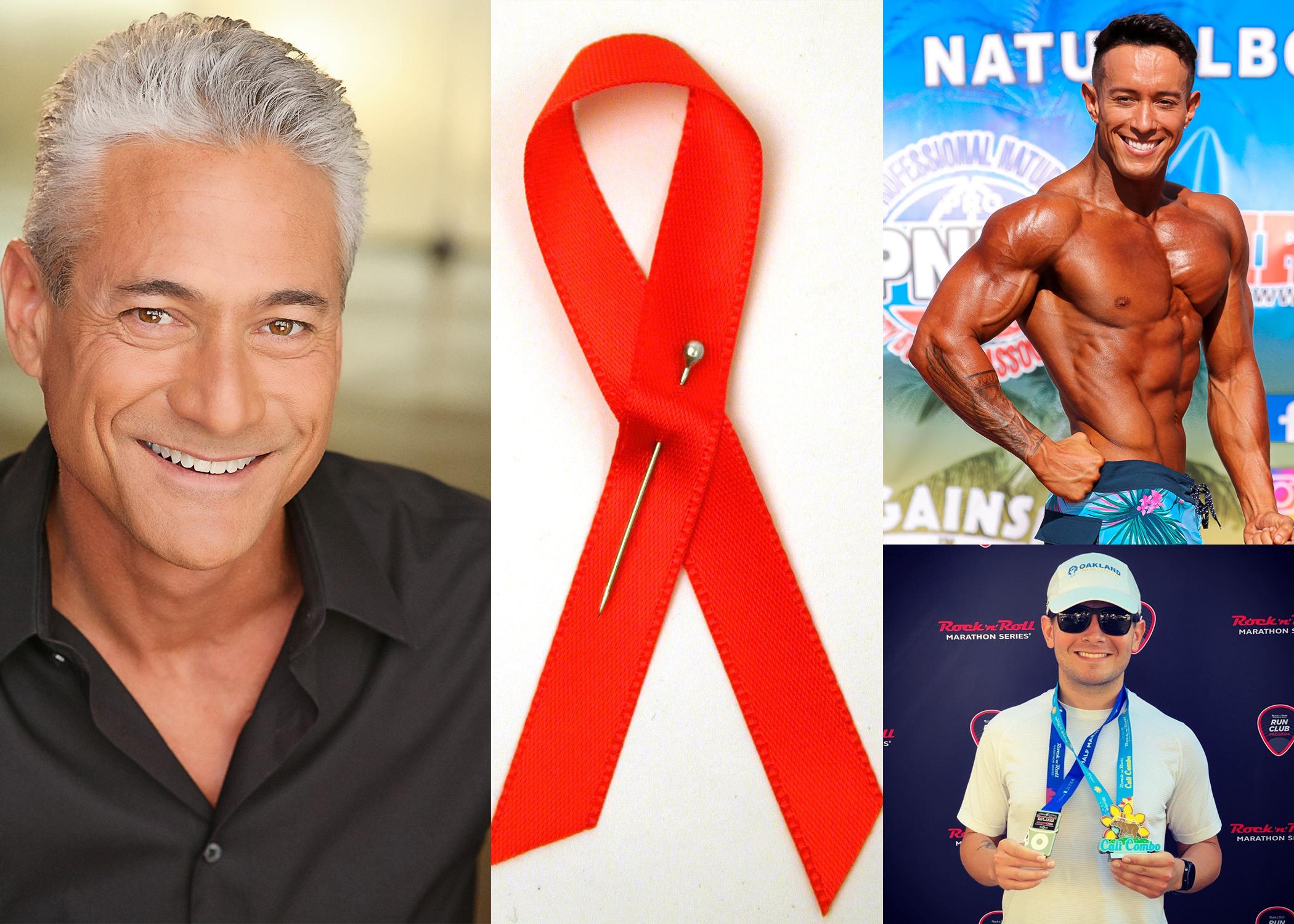 Olympian Greg Louganis, Bodybuilder Raif Derrazi and Triathlete Josh Hipps next to a red AIDS awareness ribbon.