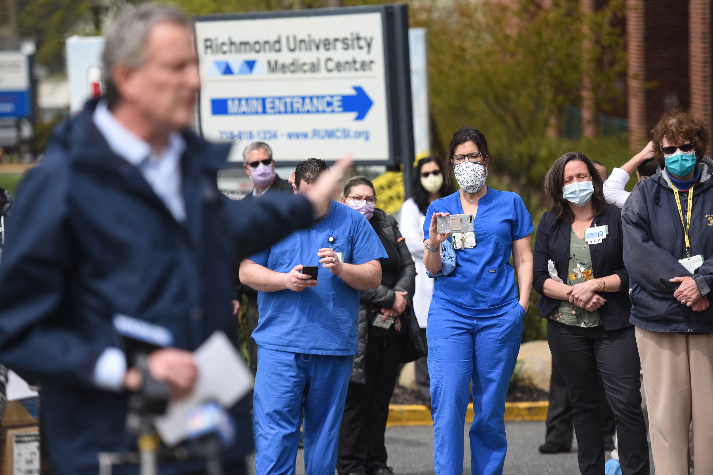 Mayor Bill de Blasio visits Richmond University Medical Center on Staten Island at the peak of the coronavirus outbreak, April 20, 2020.