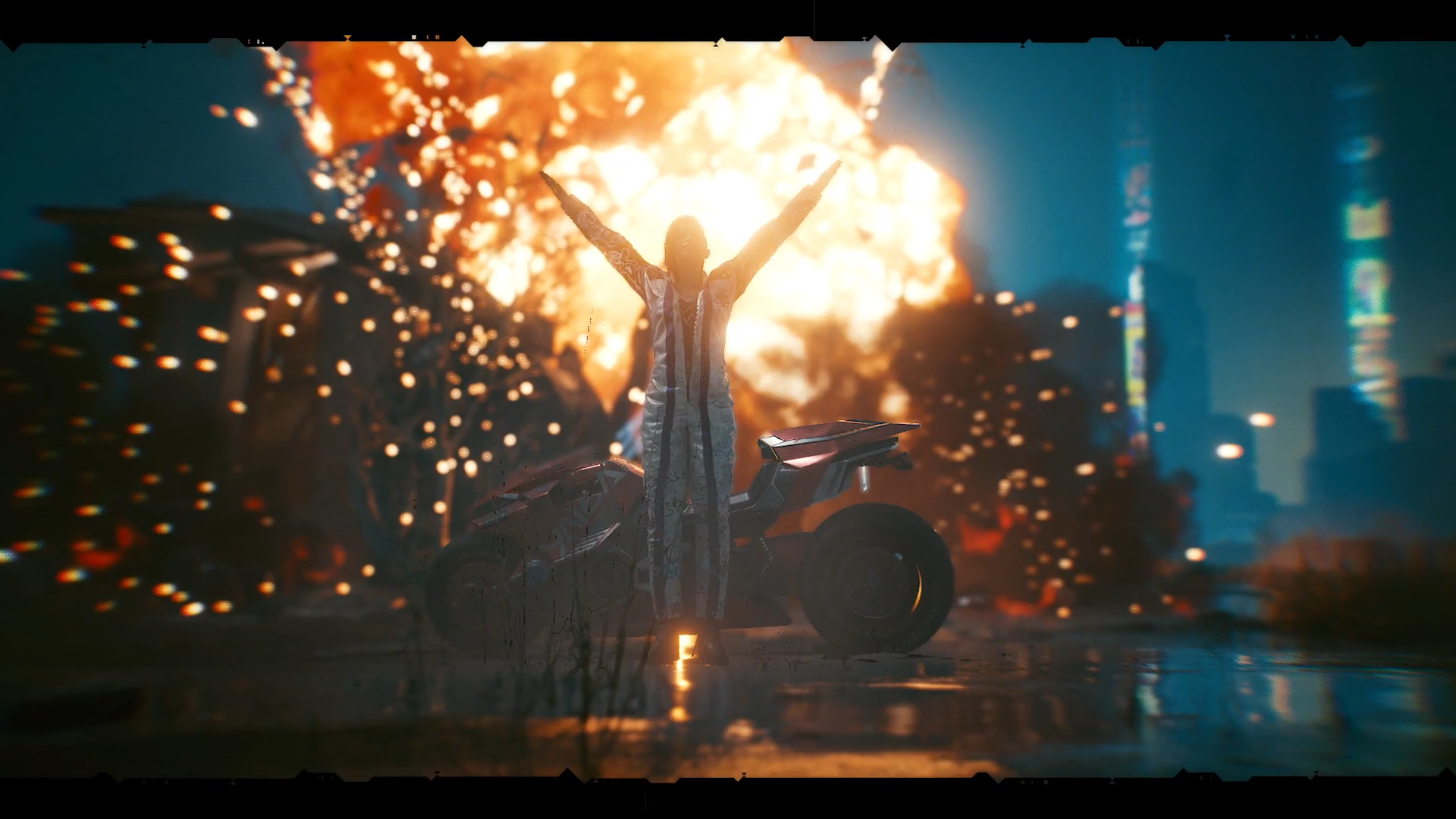 Cyberpunk 2077 custom character standing in front of an explosion