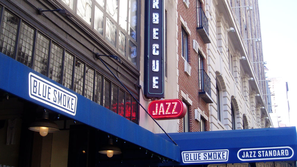 The exterior of the barbecue restaurant Blue Smoke in Flatiron