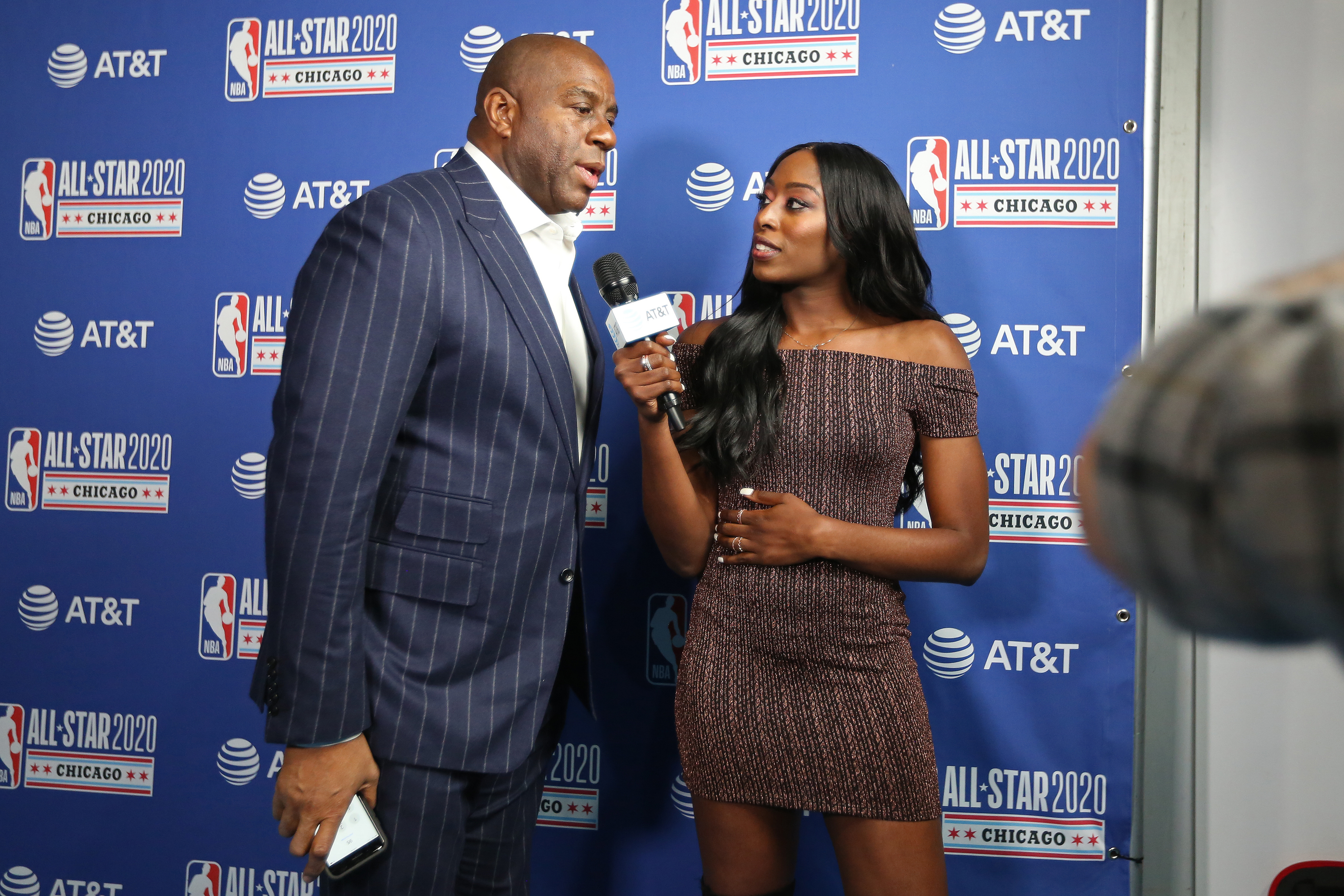 Chiney Ogwumike interviews NBA legend and Los Angeles Sparks co-owner Magic Johnson at 2020 NBA All-Star Weekend.