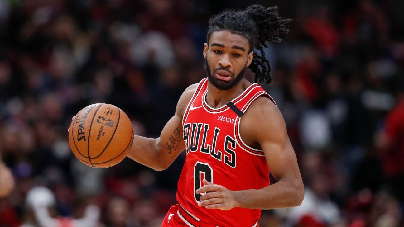 """""""He's a lot more vocal,'' Bulls forward Lauri Markkanen said of teammate Coby White."""