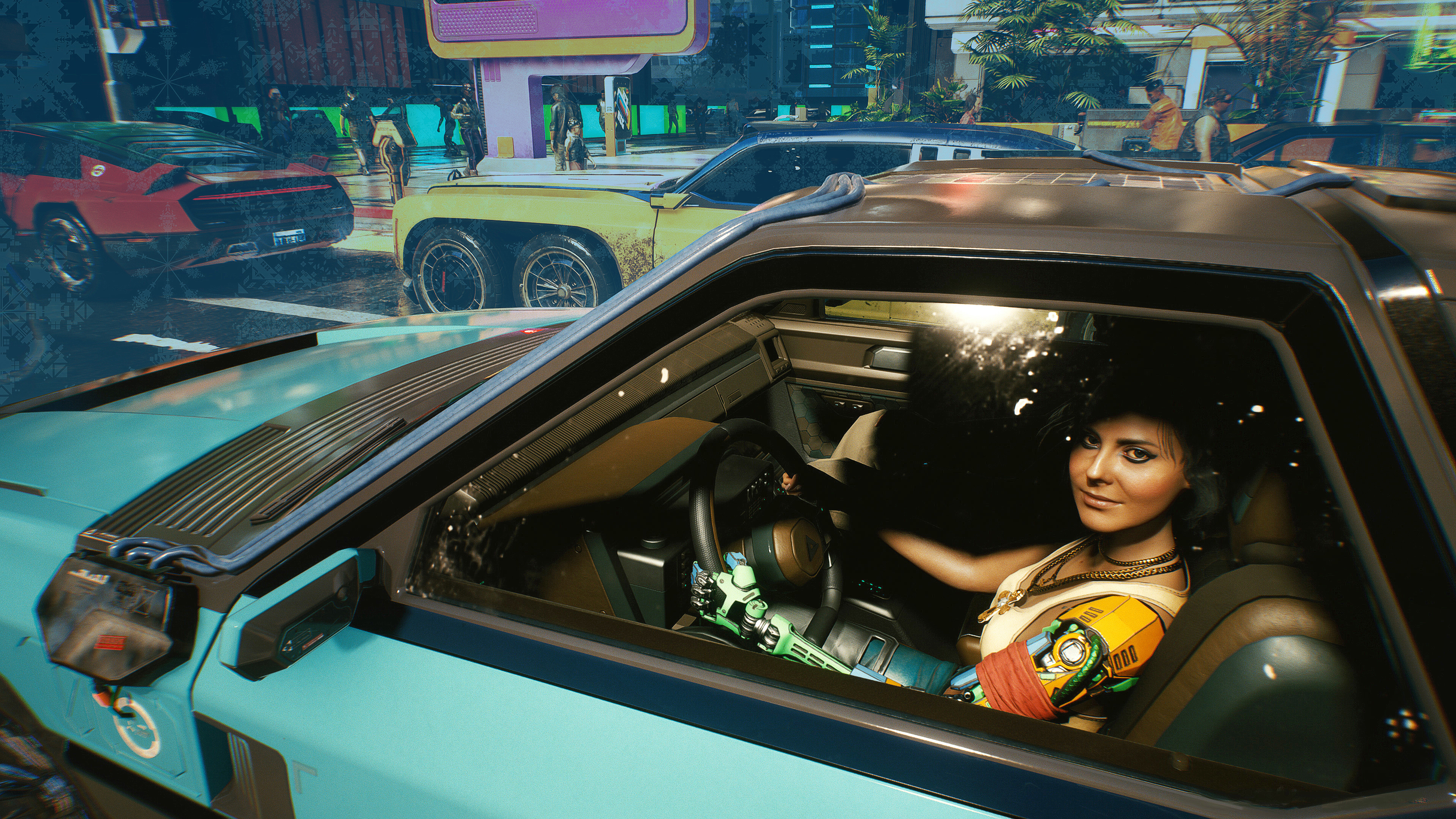 Woman with a robot arm looking to camera while driving a car in traffic