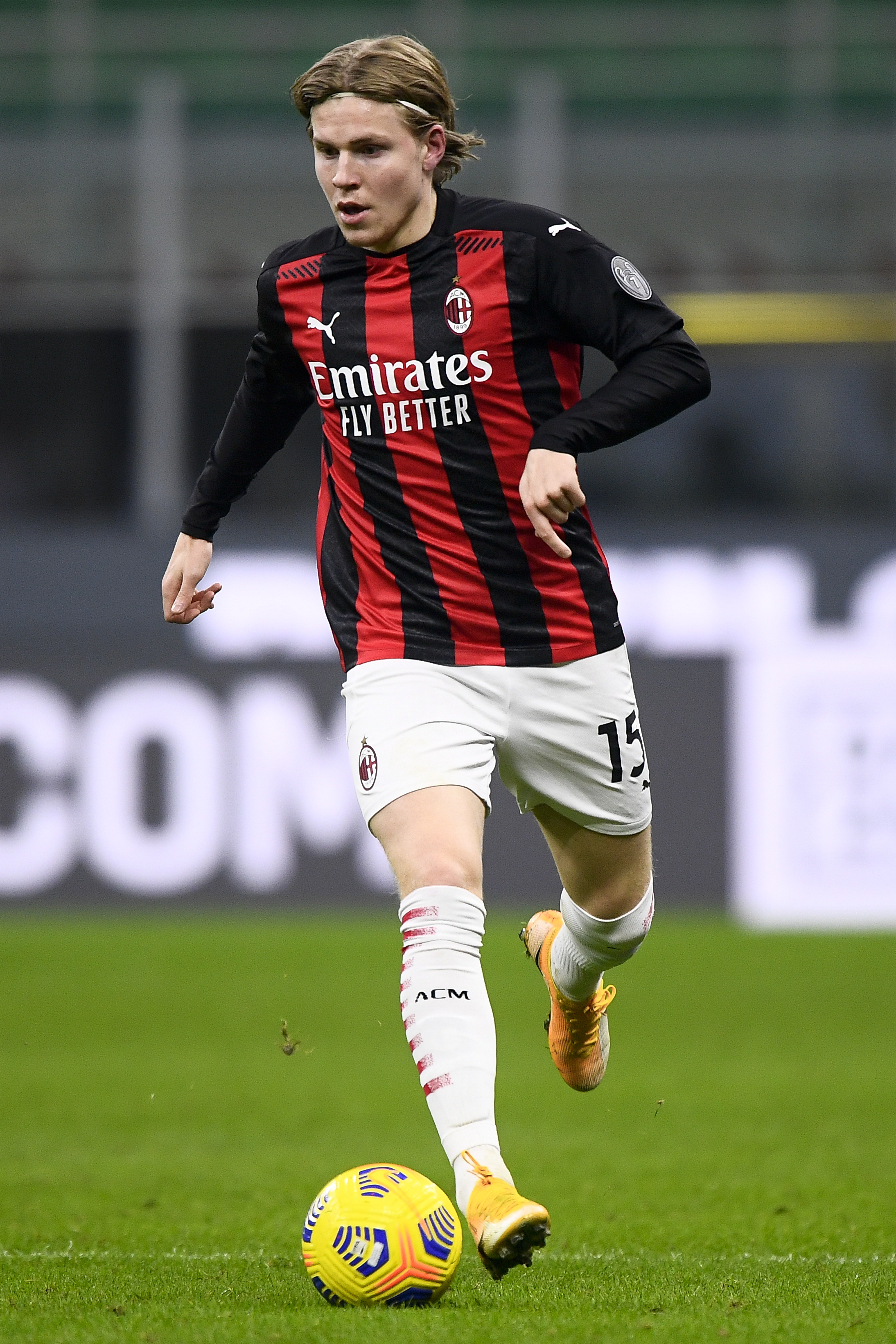 Jens Petter Hauge of AC Milan in action during the Serie A...