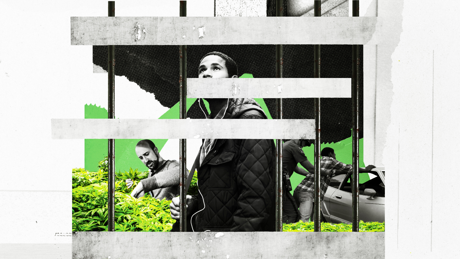 An illustration shows a black man behind bars while others tend to marijuana behind him.
