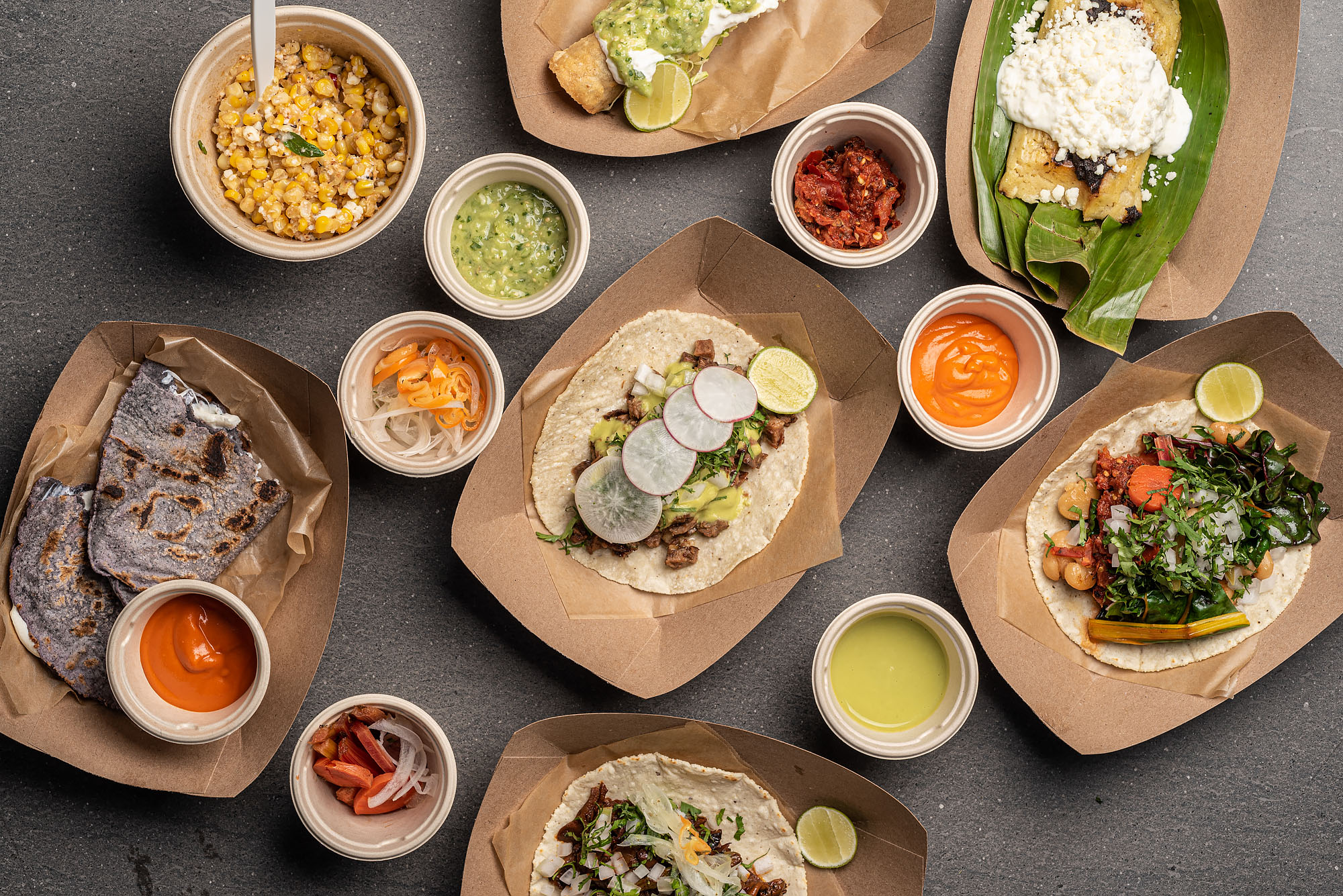 Tacos and sides from Enrique Olvera's Ditroit in Arts District.