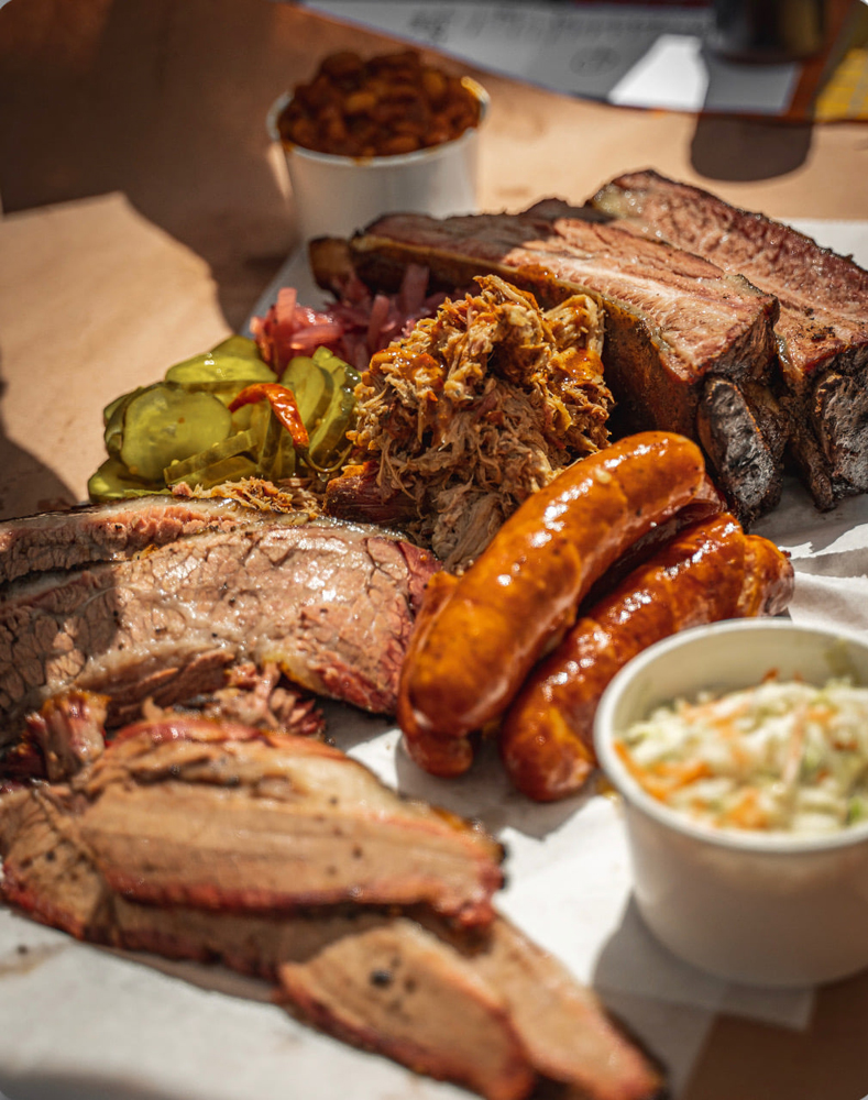 Texas-style brisker, sausage and ribs on the the way downtown from Soulbelly BBQ.