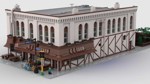 A detailed Lego recreation of the iconic dive bar the CC Club, down to the street sign and stoplight outside the beige and brown exterior